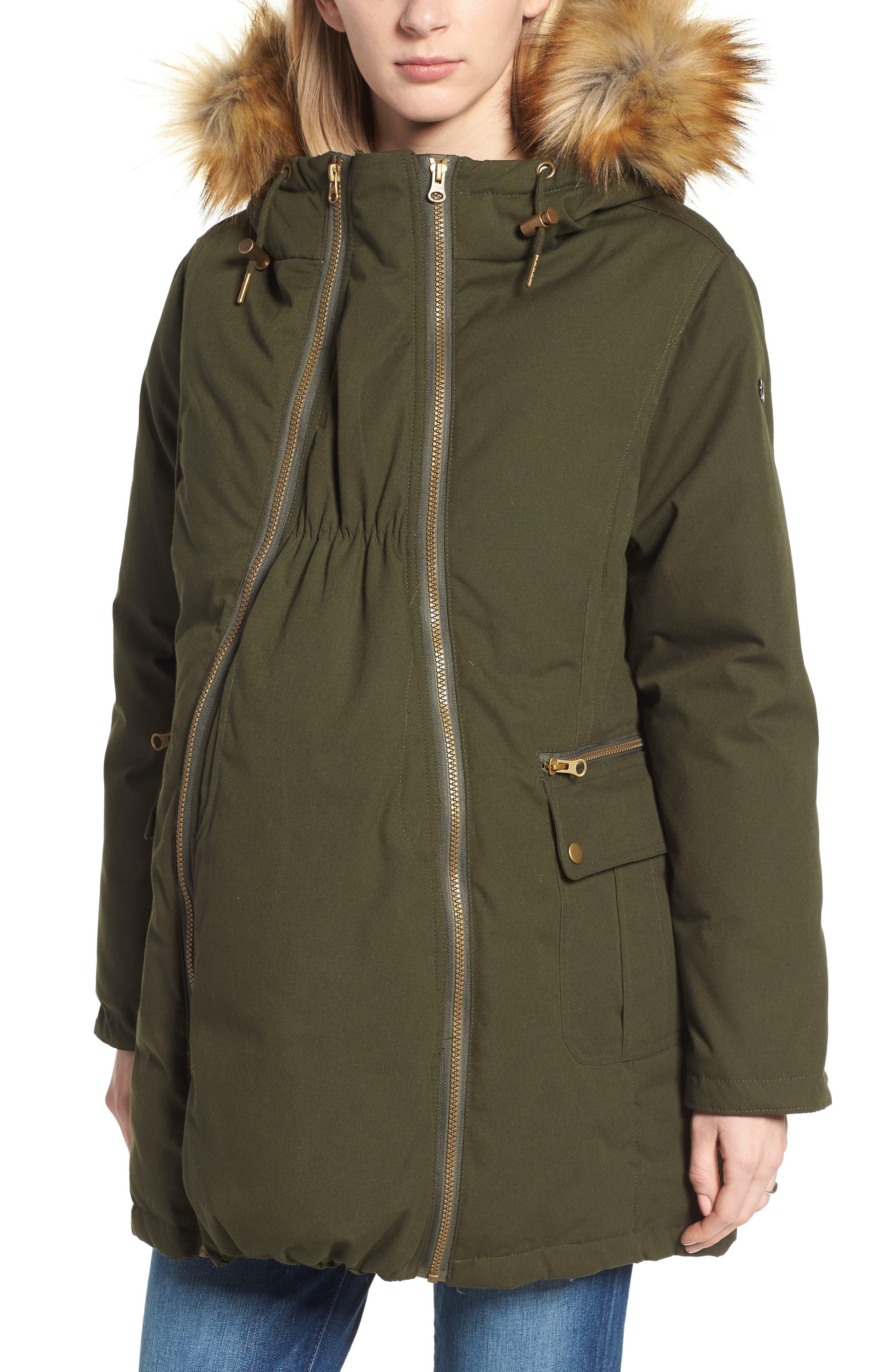 Convertible Down 3-in-1 Maternity Jacket,                             Main thumbnail 1, color,                             Khaki Green