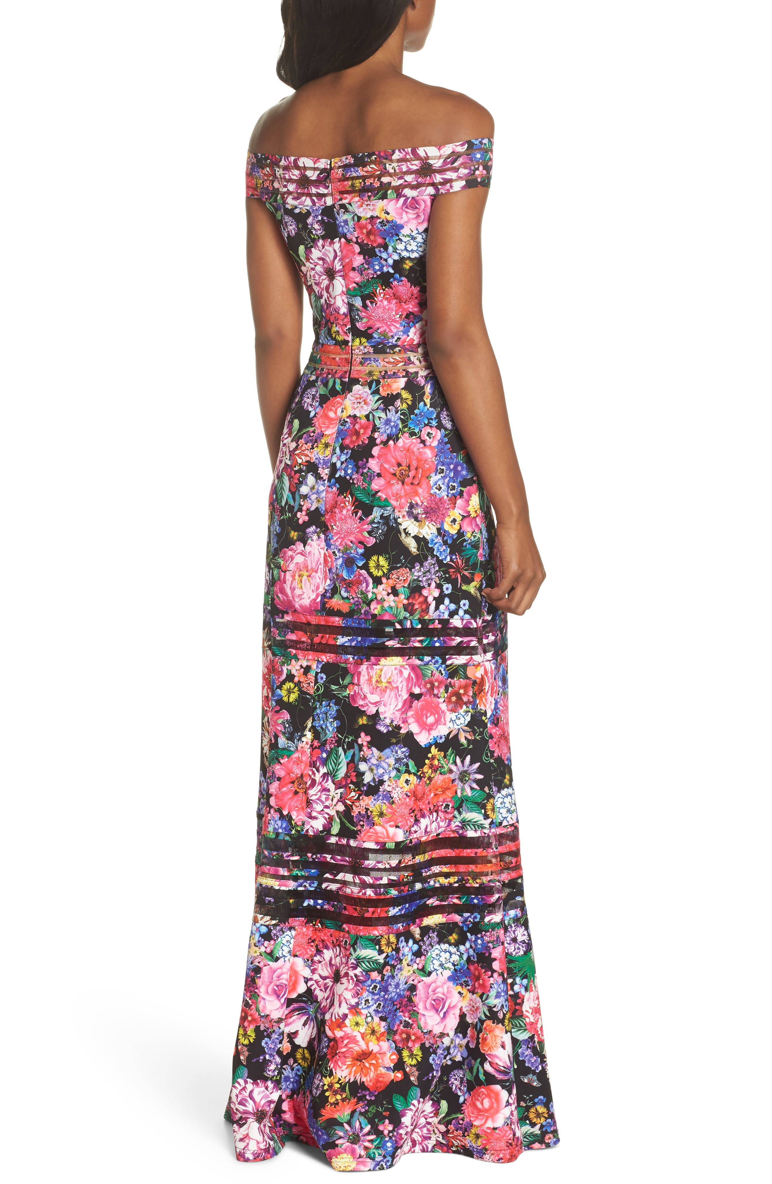 Bondi Off the Shoulder Gown,                             Alternate thumbnail 2, color,                             Black Floral