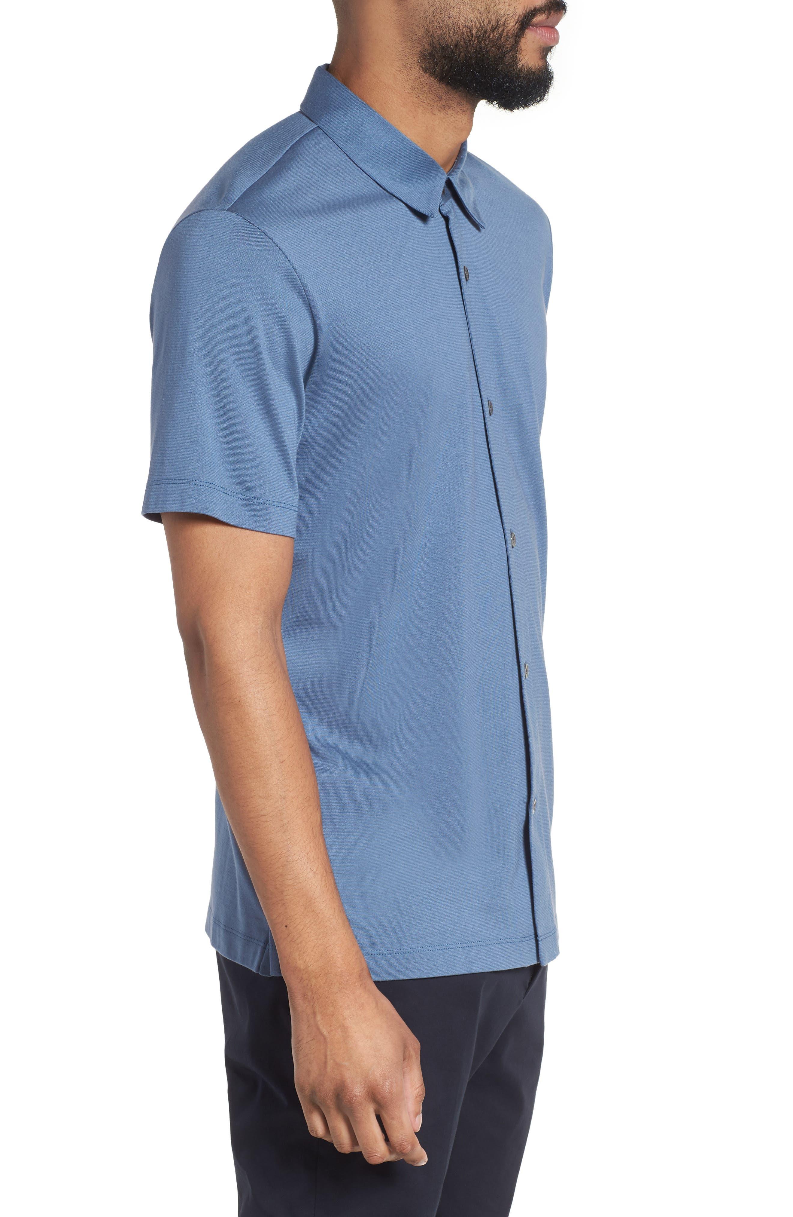 Incisive Silk & Cotton Short Sleeve Sport Shirt,                             Alternate thumbnail 3, color,                             Iris