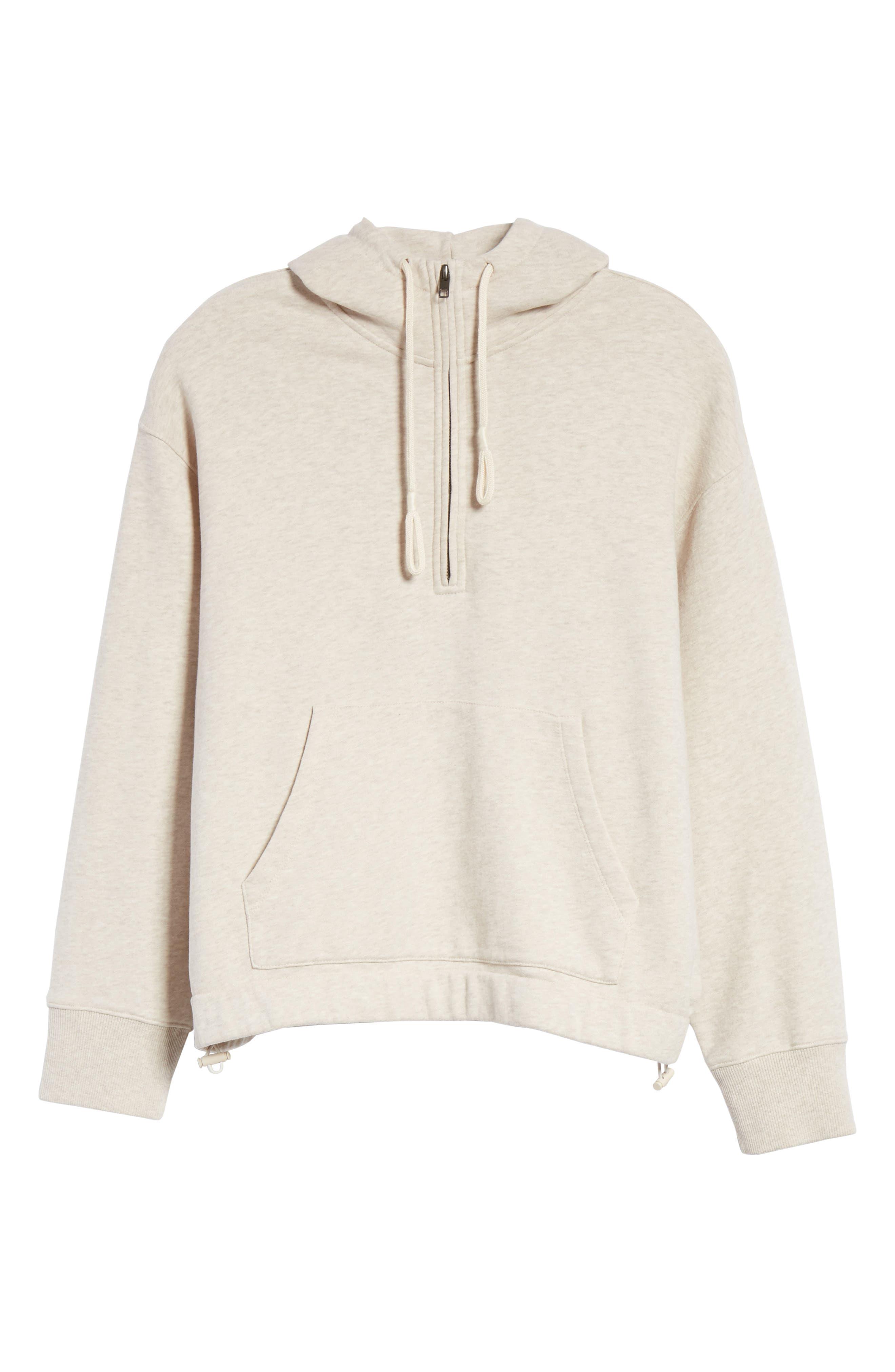 Half Zip Cotton Hoodie Sweatshirt,                             Alternate thumbnail 6, color,                             H Burlap