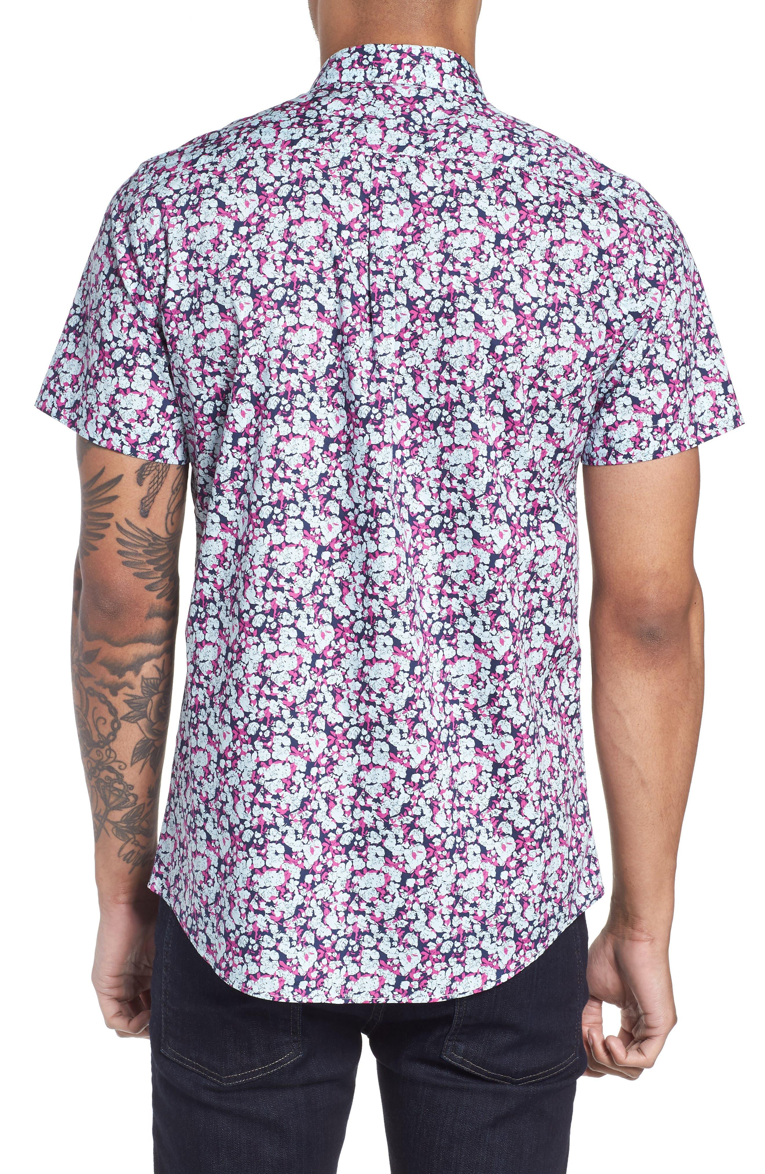 Print Woven Short Sleeve Shirt,                             Alternate thumbnail 2, color,                             Pink Navy