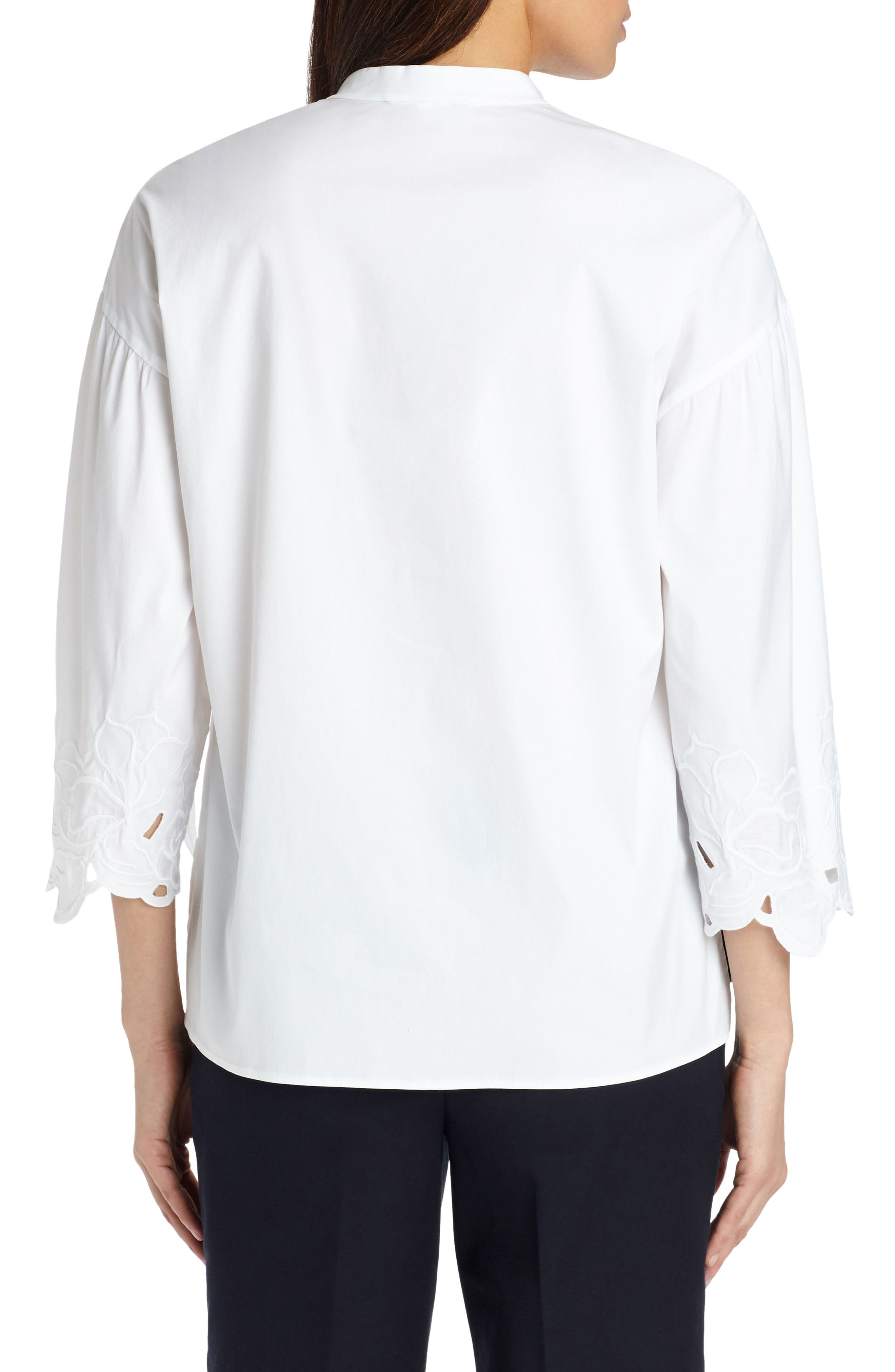Carla Embroidered Blouse,                             Alternate thumbnail 2, color,                             White