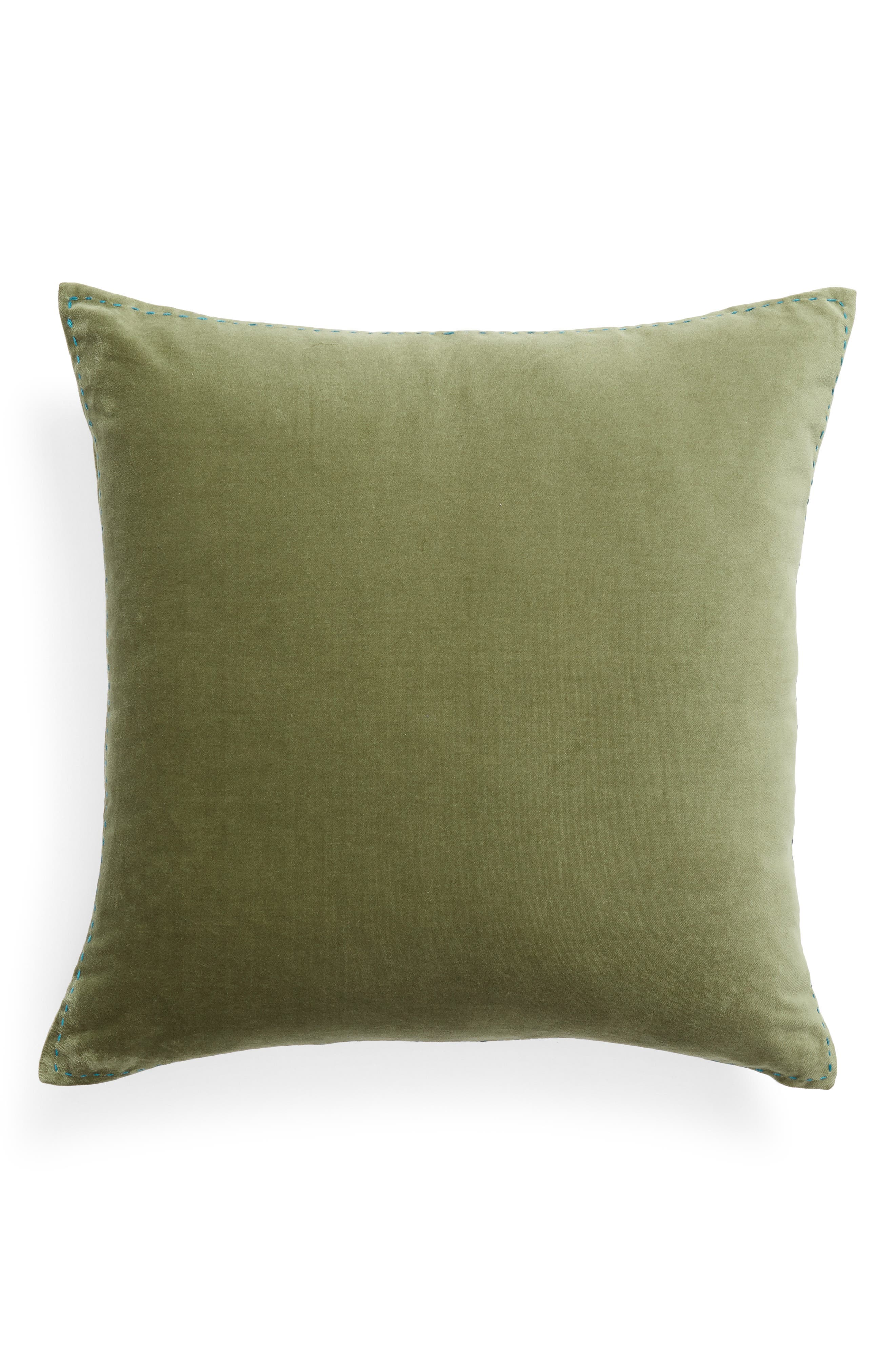 Ticking Border Accent Pillow,                             Alternate thumbnail 2, color,                             Green Sorrel