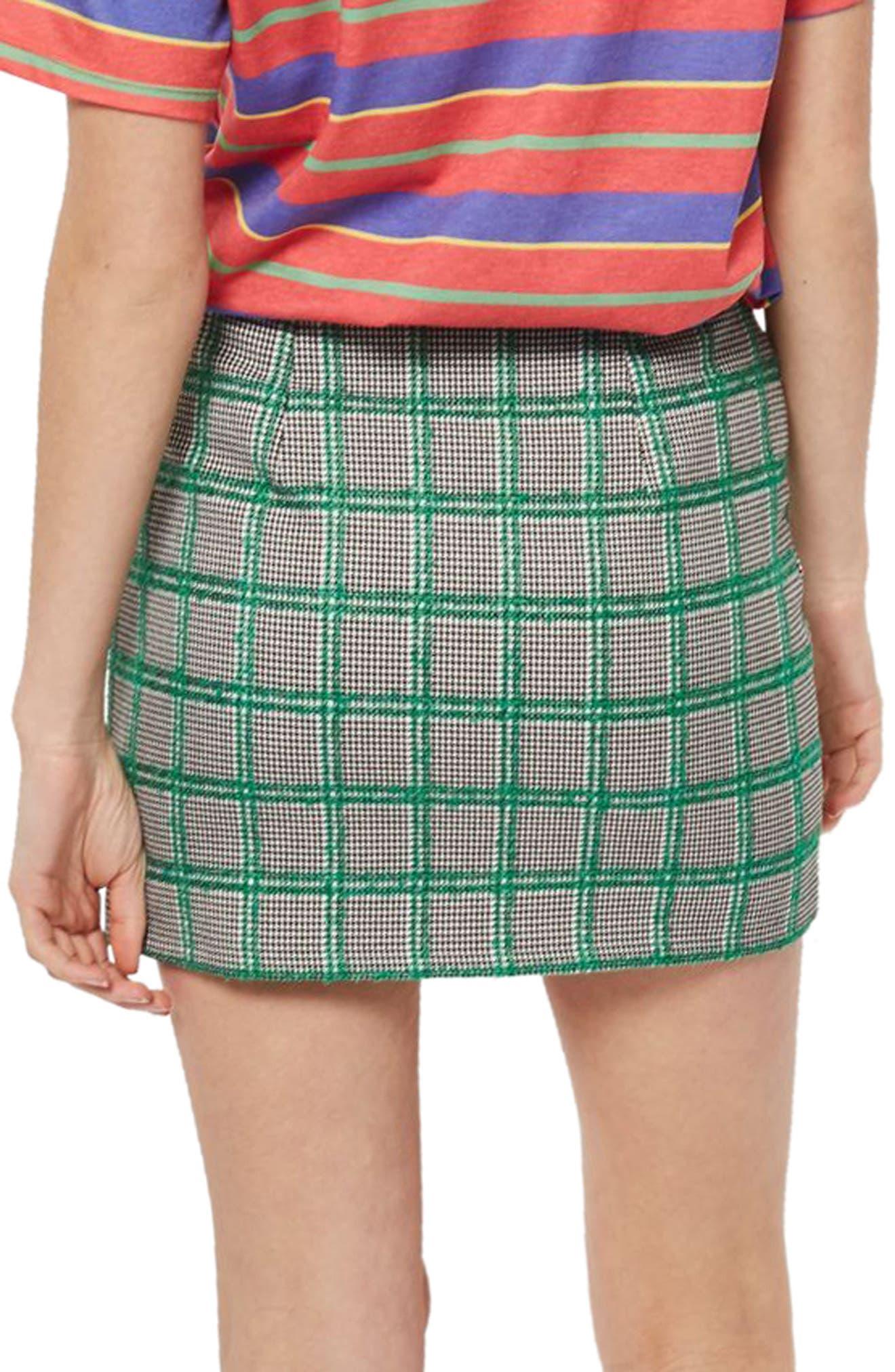 Check Pelmet Skirt,                             Alternate thumbnail 2, color,                             Green Multi