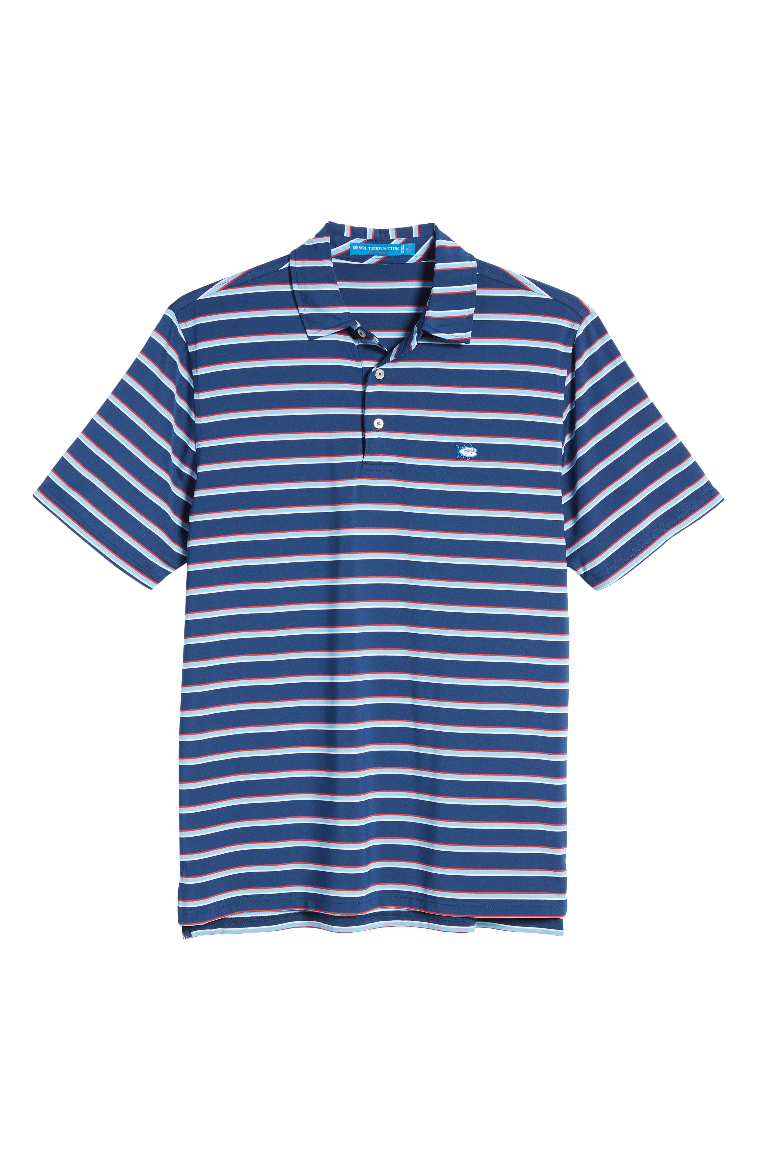 Regular Fit Multistripe Performance Polo,                             Alternate thumbnail 6, color,                             Yacht Blue
