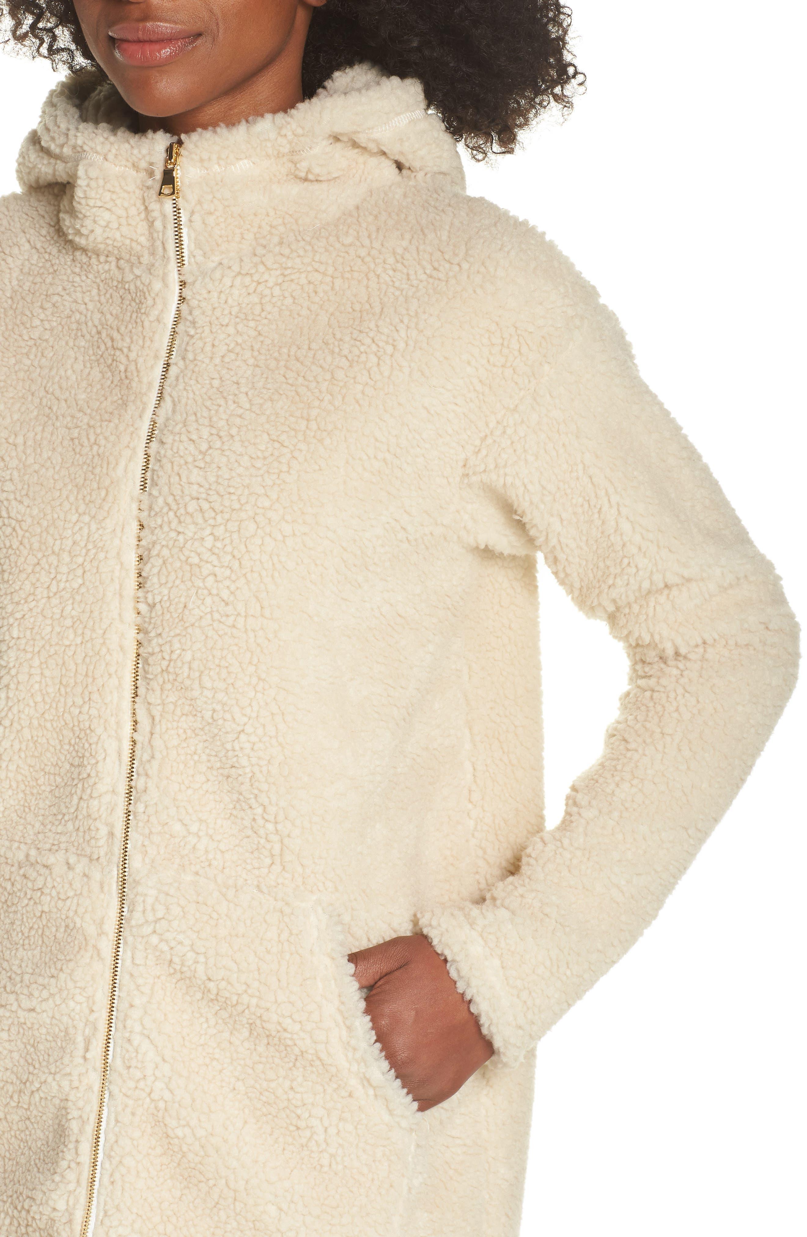 Brea Fleece Jacket,                             Alternate thumbnail 4, color,                             Natural