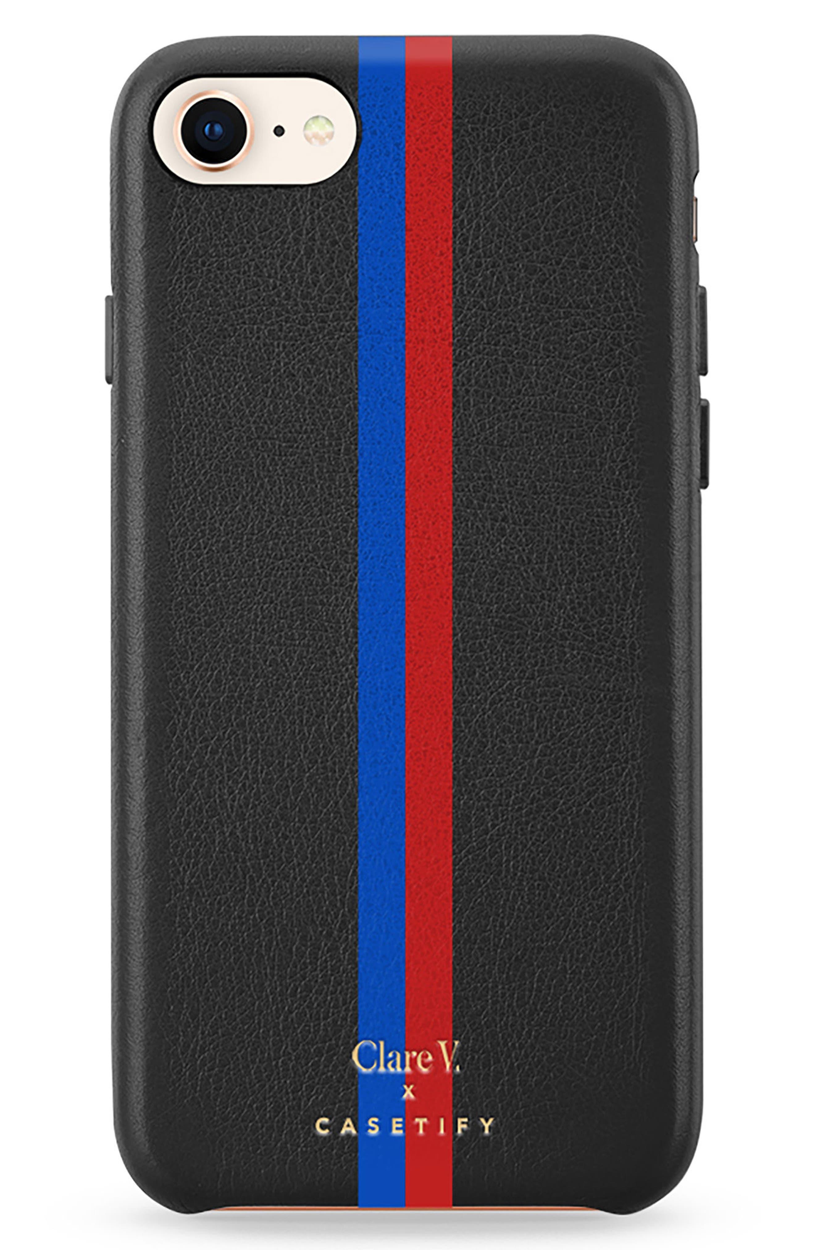 x Clare V. Stripe Leather iPhone 7/8 & 7/8 Plus Case,                             Main thumbnail 1, color,                             Black Multi