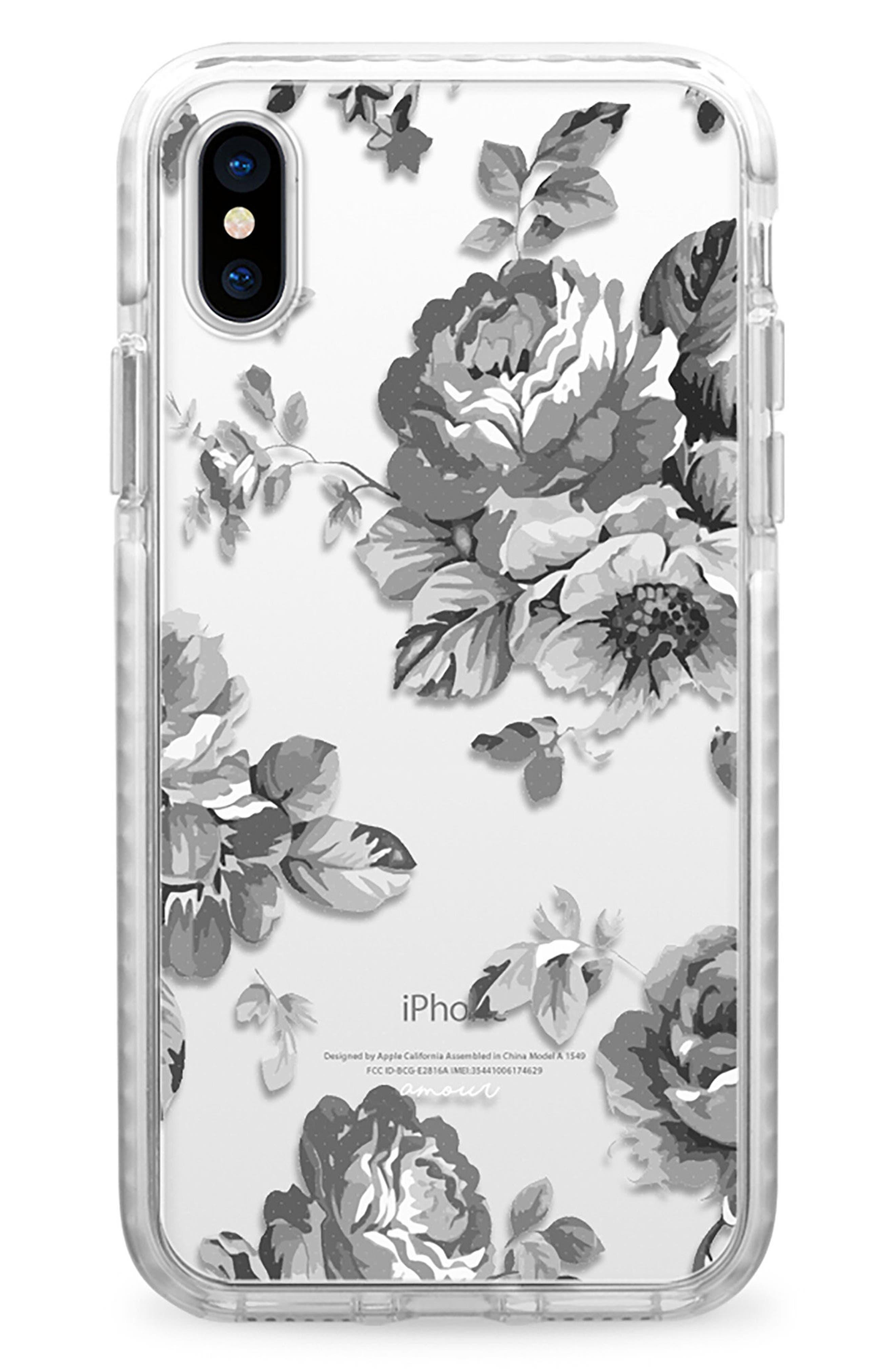 Black Floral Transparent iPhone X Case,                             Main thumbnail 1, color,                             Grey