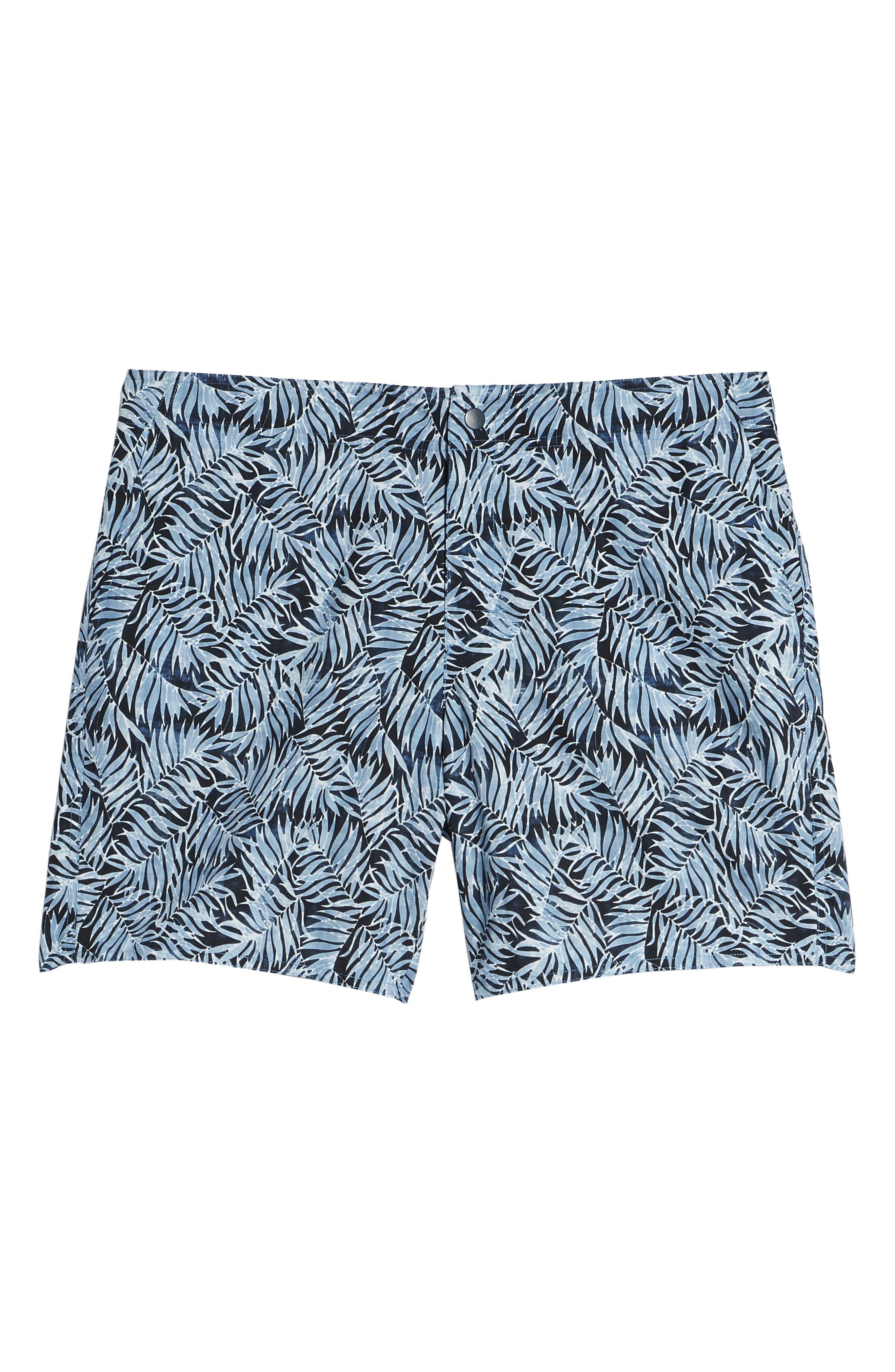Avondale Palm Print Swim Trunks,                             Alternate thumbnail 6, color,                             Blue