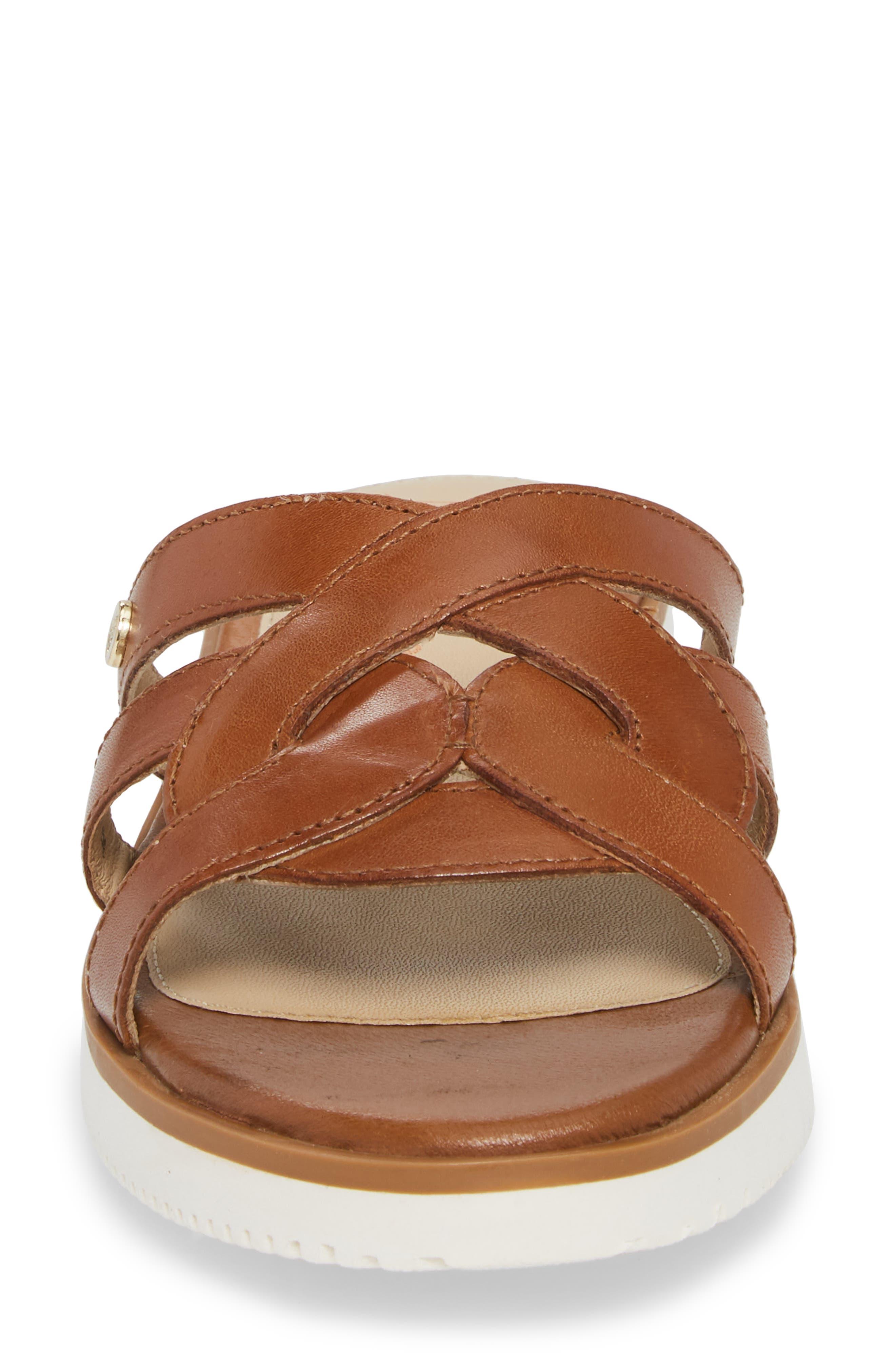 Braid Slide Sandal,                             Alternate thumbnail 4, color,                             Tan Leather