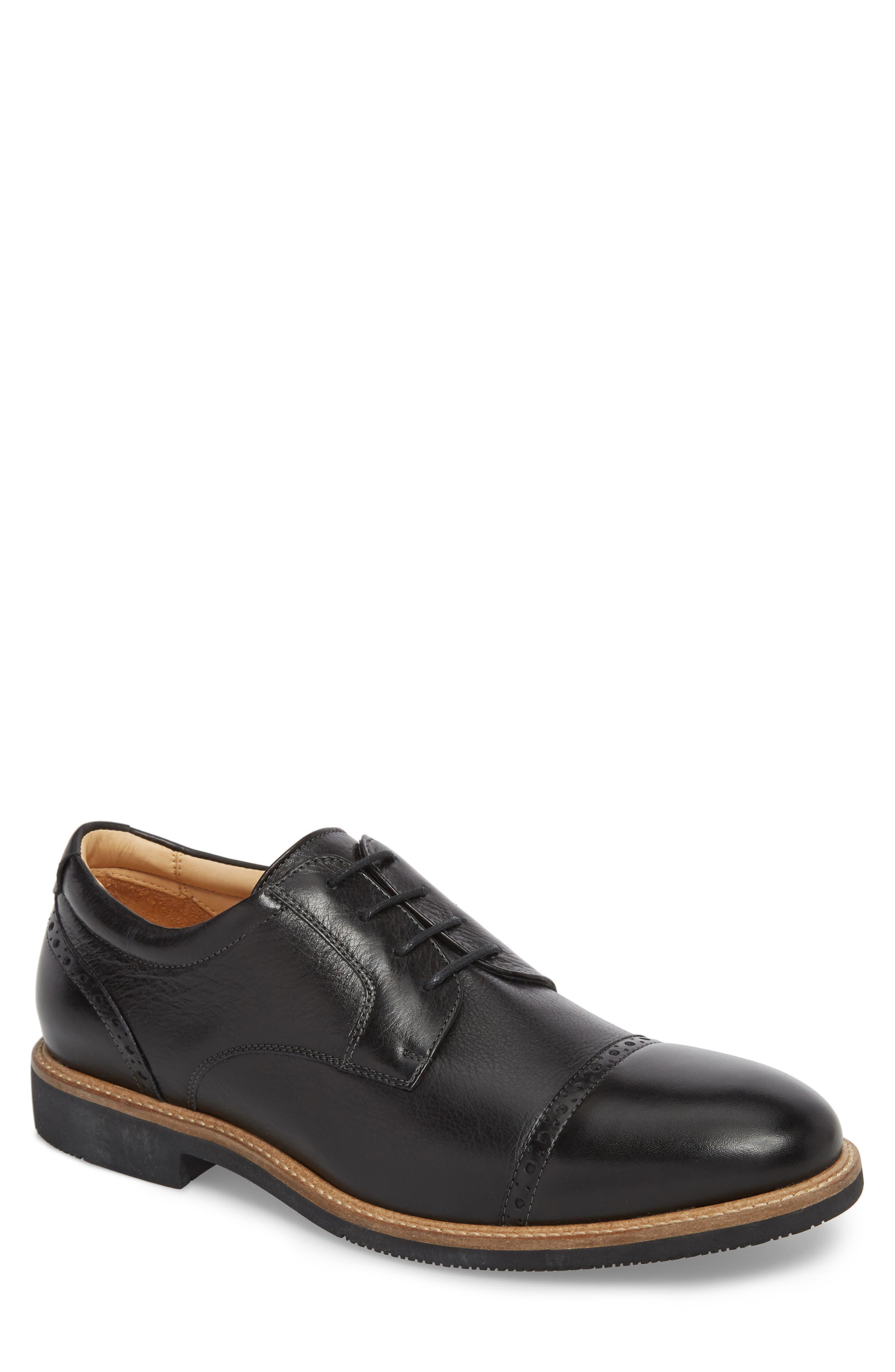 Barlow Cap Toe Derby,                         Main,                         color, Black Leather