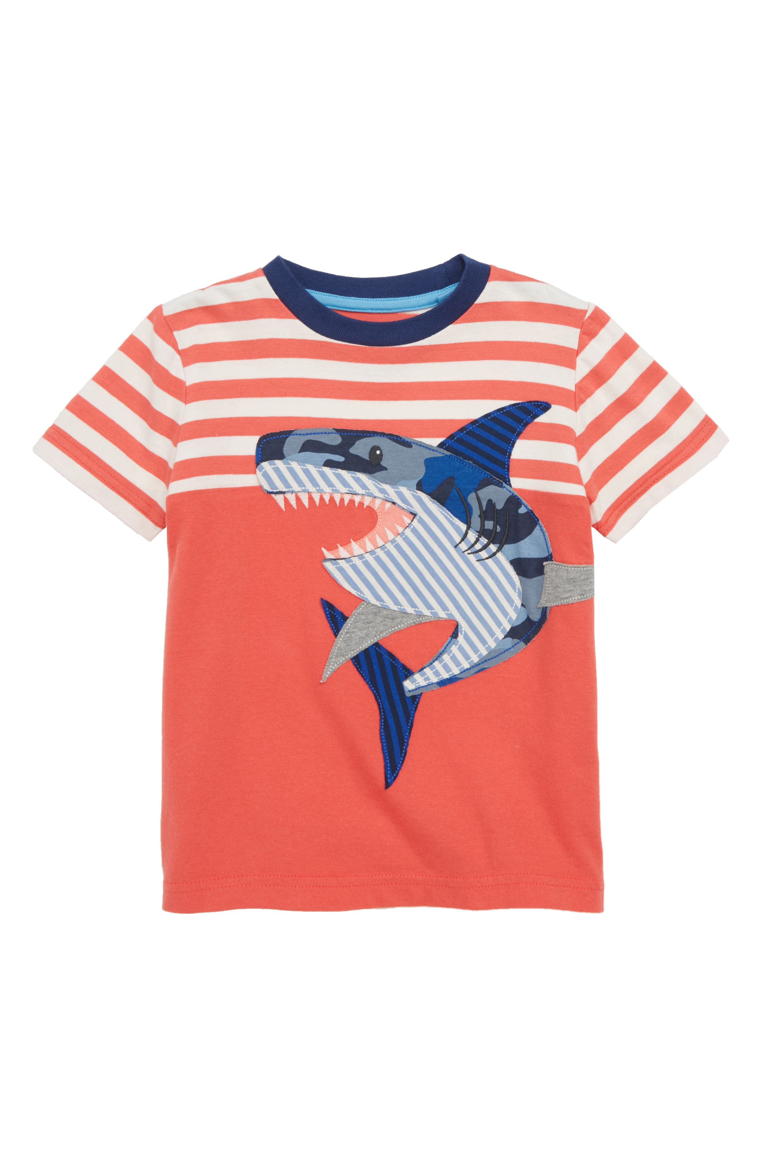 Shark Appliqué T-Shirt,                         Main,                         color, Jam Red/ Ecru Shark