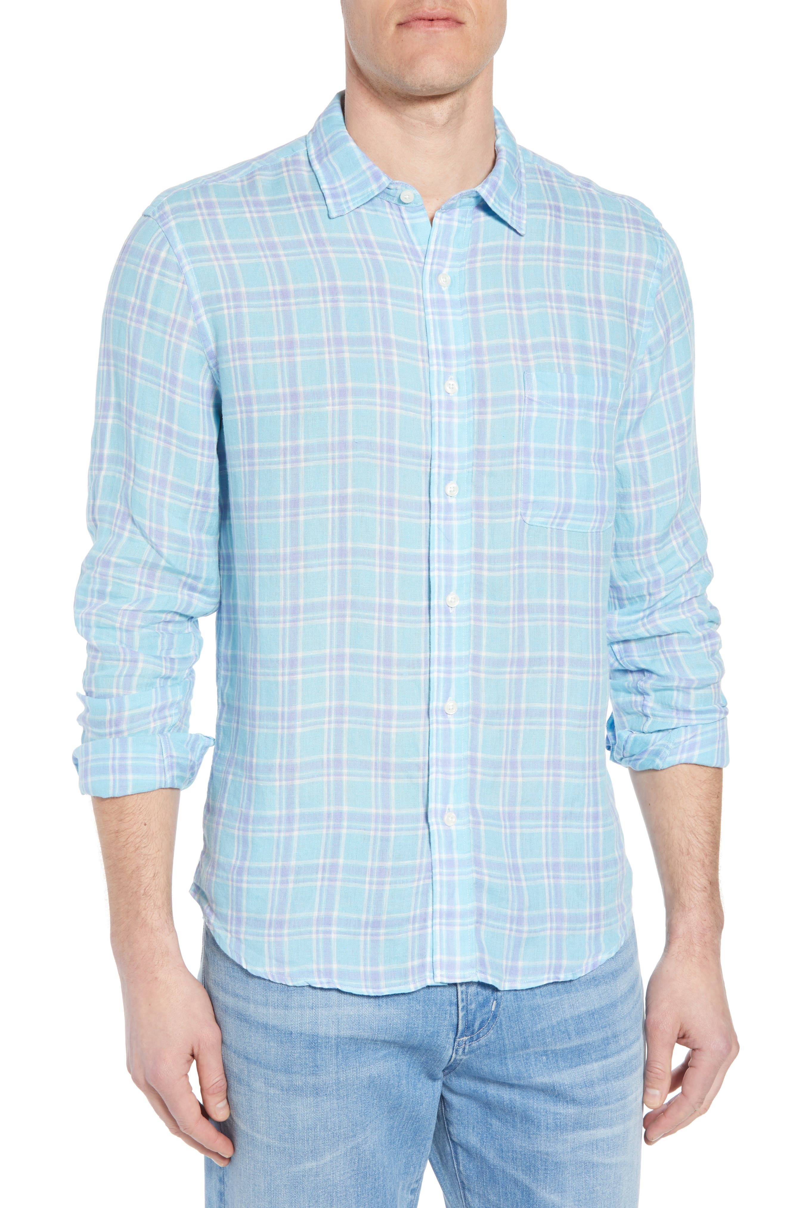 Ventura Plaid Linen Sport Shirt,                         Main,                         color, Teal Purple Plaid