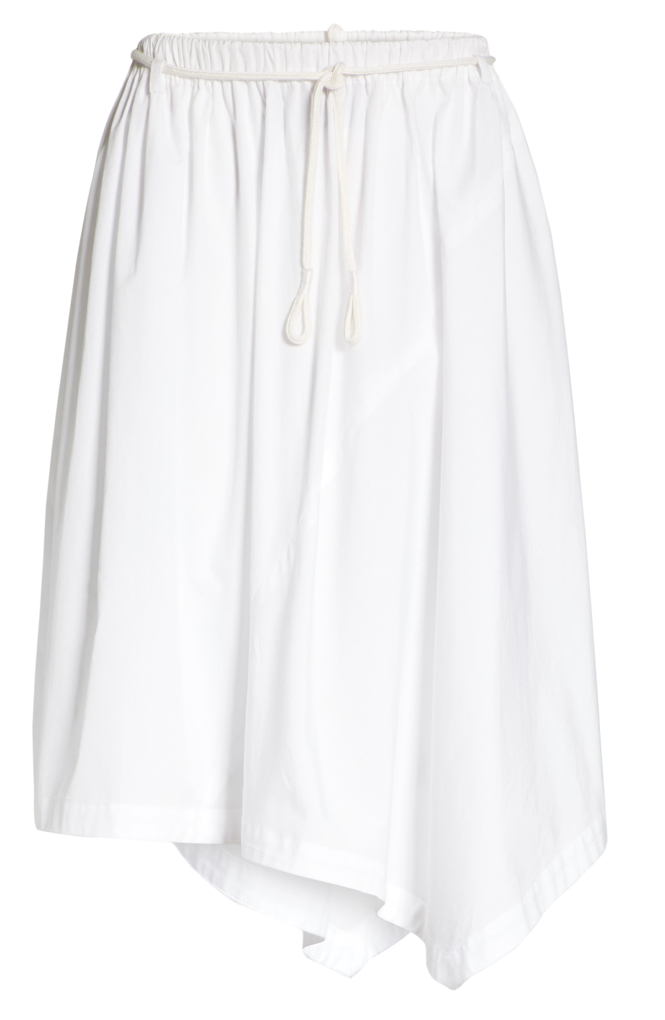 Asymmetrical Drawstring Cotton Skirt,                             Alternate thumbnail 6, color,                             Optic White