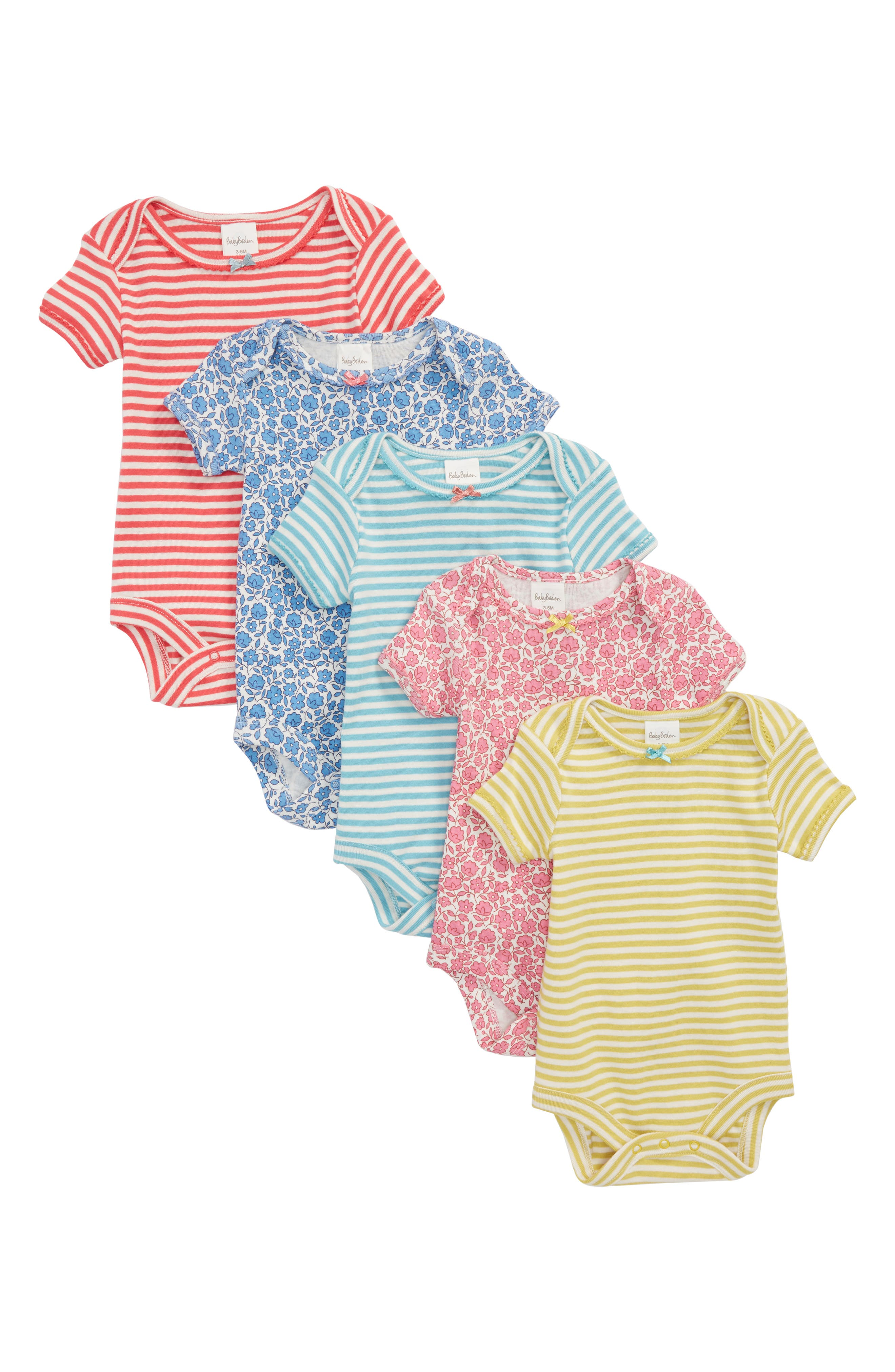 5-Pack Assorted Bodysuits,                         Main,                         color, Lake Blue/ Floral Toile