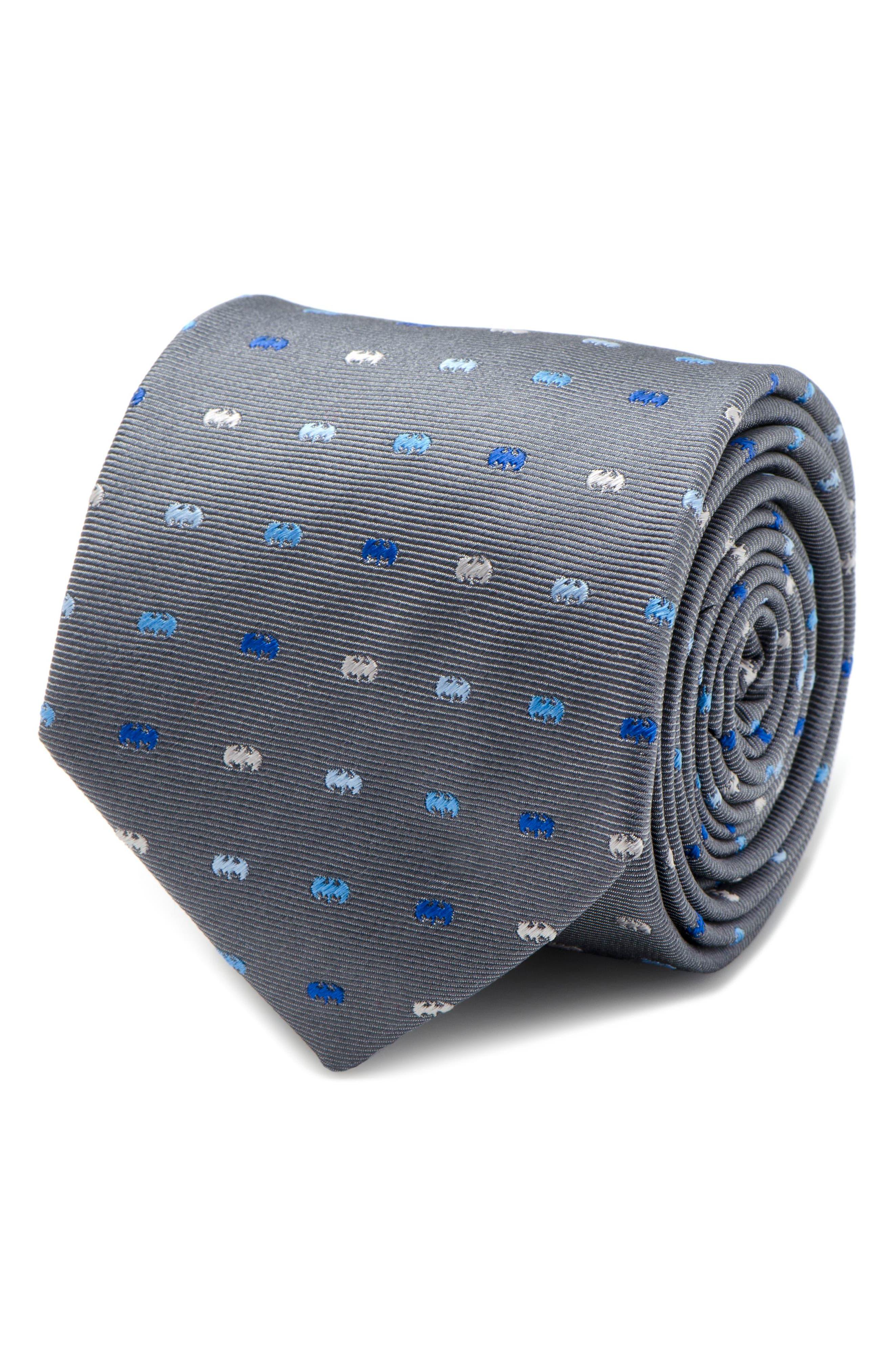 Batman Icon Silk Tie,                             Alternate thumbnail 4, color,                             Grey