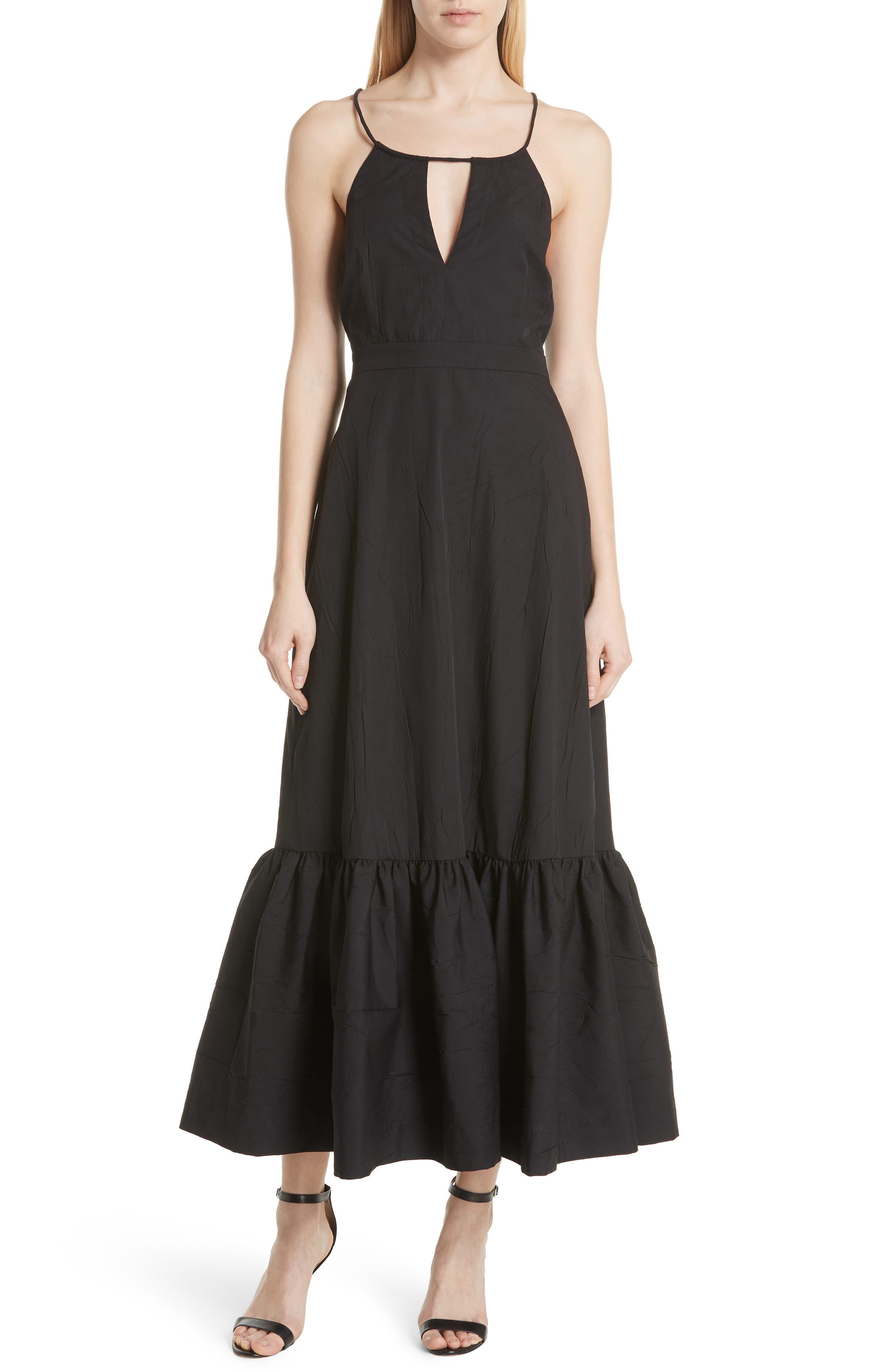 Tiered Halter Keyhole Dress,                             Main thumbnail 1, color,                             Black