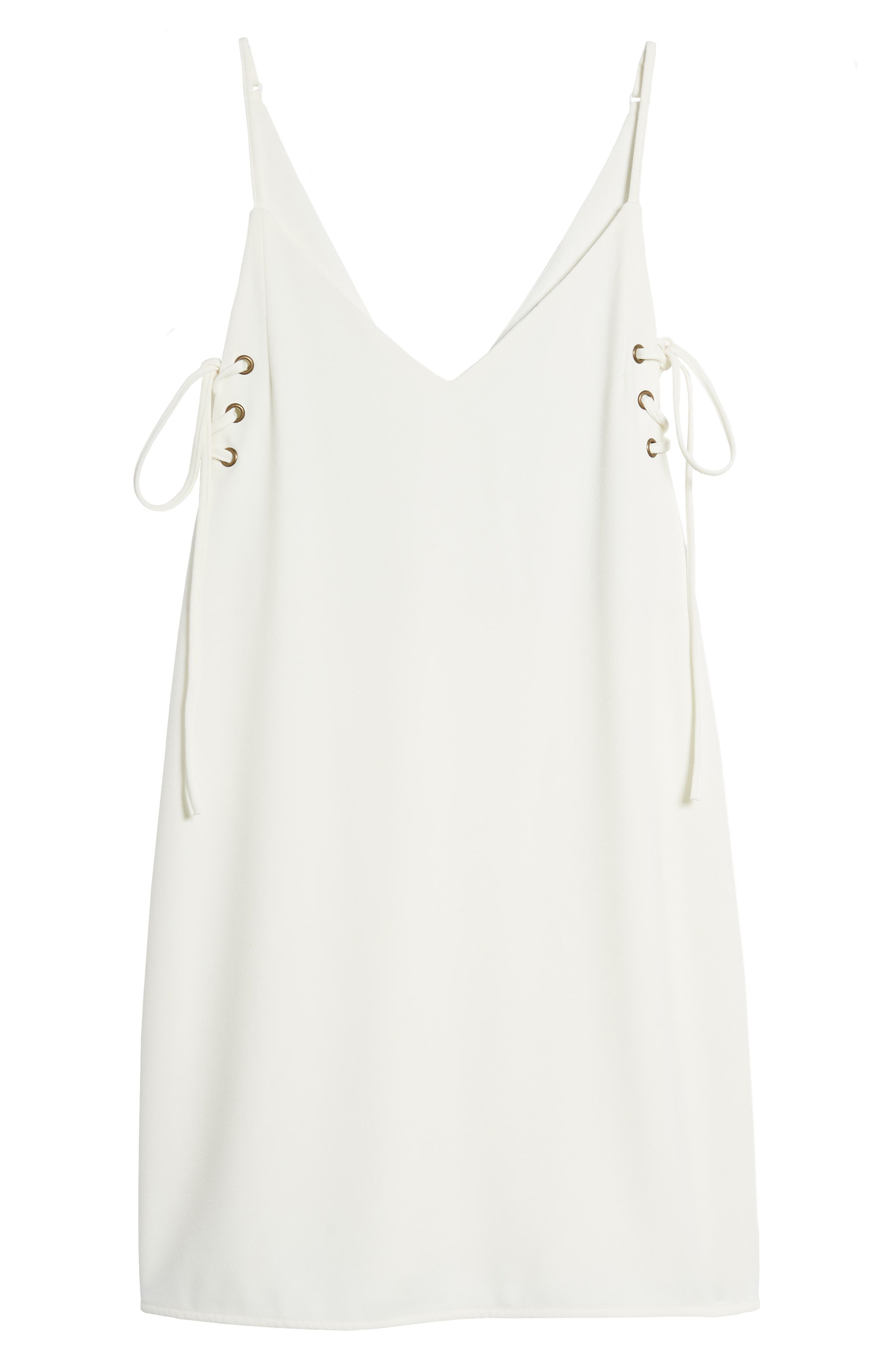 Bishop + Young Ana Lace-Up Shift Dress,                             Alternate thumbnail 7, color,                             White