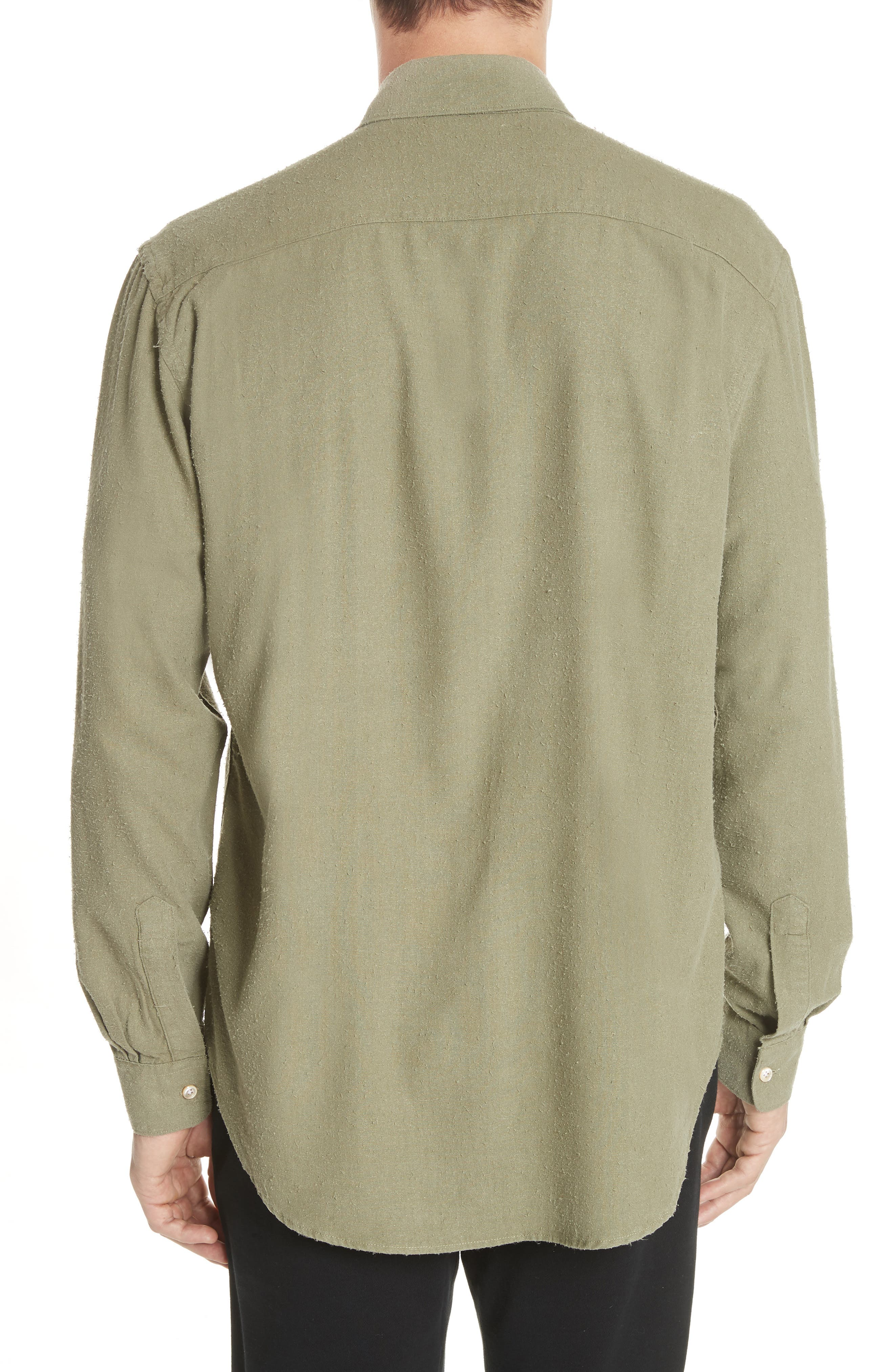 Classic Silk Woven Shirt,                             Alternate thumbnail 3, color,                             Olive