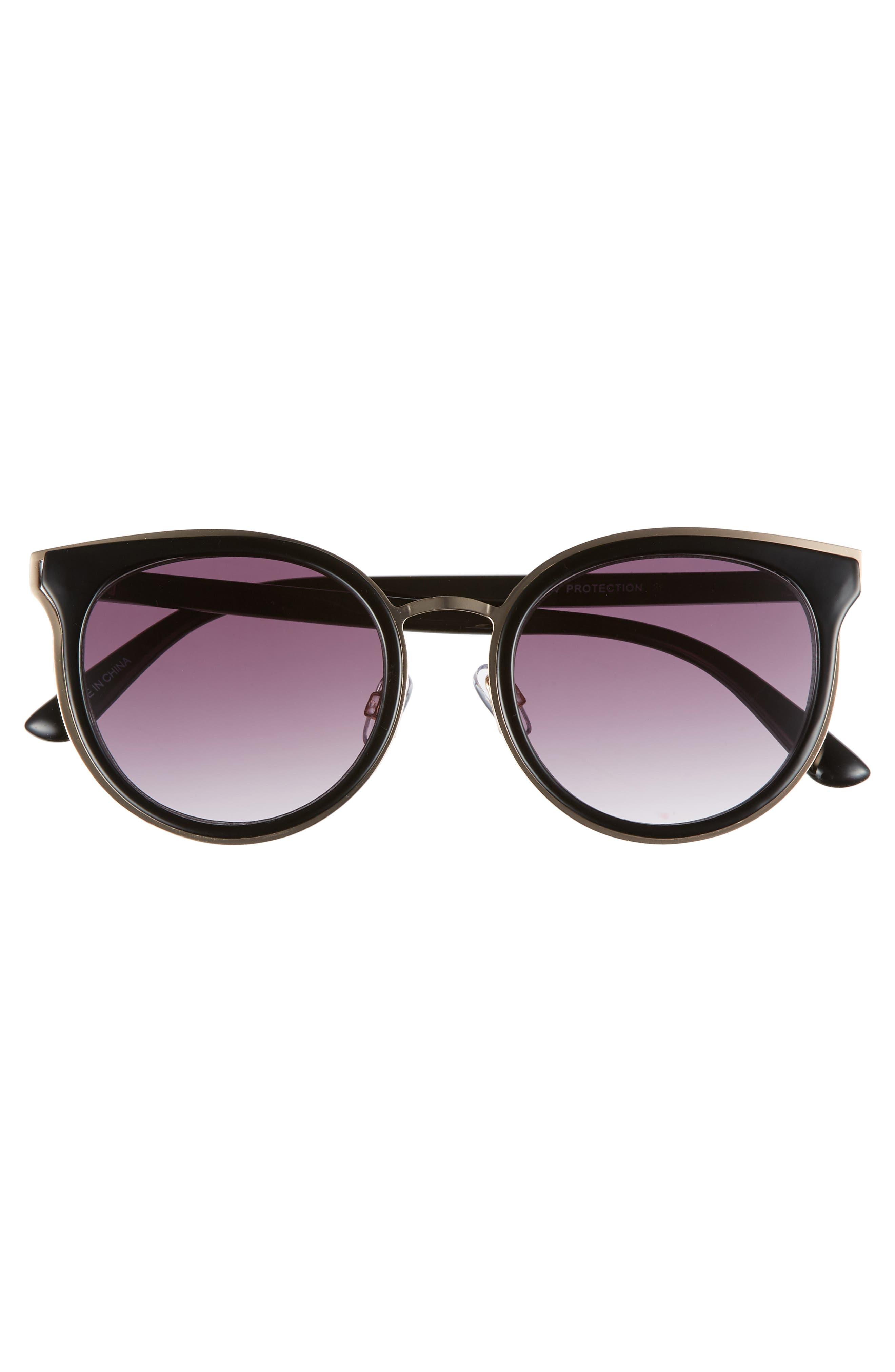 59mm Round Sunglasses,                             Alternate thumbnail 3, color,                             Gold/ Black