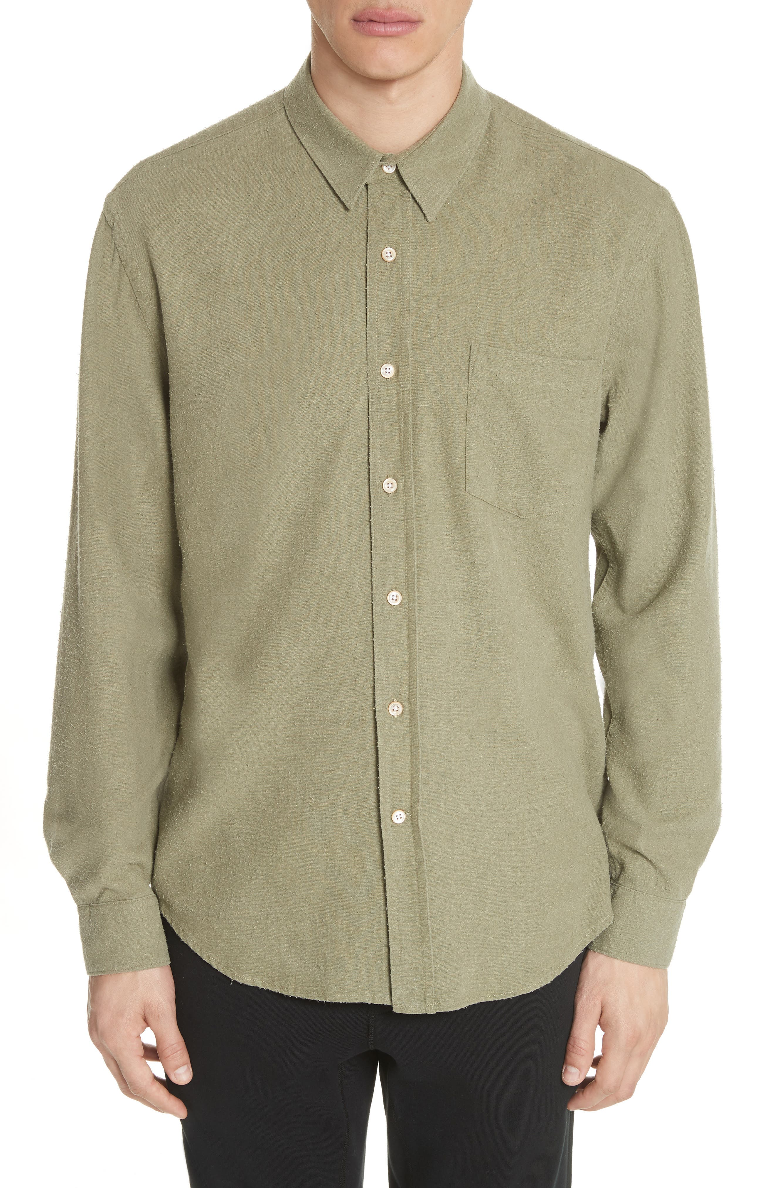 Classic Silk Woven Shirt,                         Main,                         color, Olive
