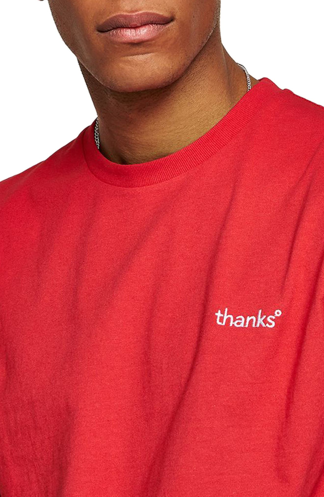 Oversize Embroidered Thanks T-Shirt,                             Alternate thumbnail 3, color,                             Red