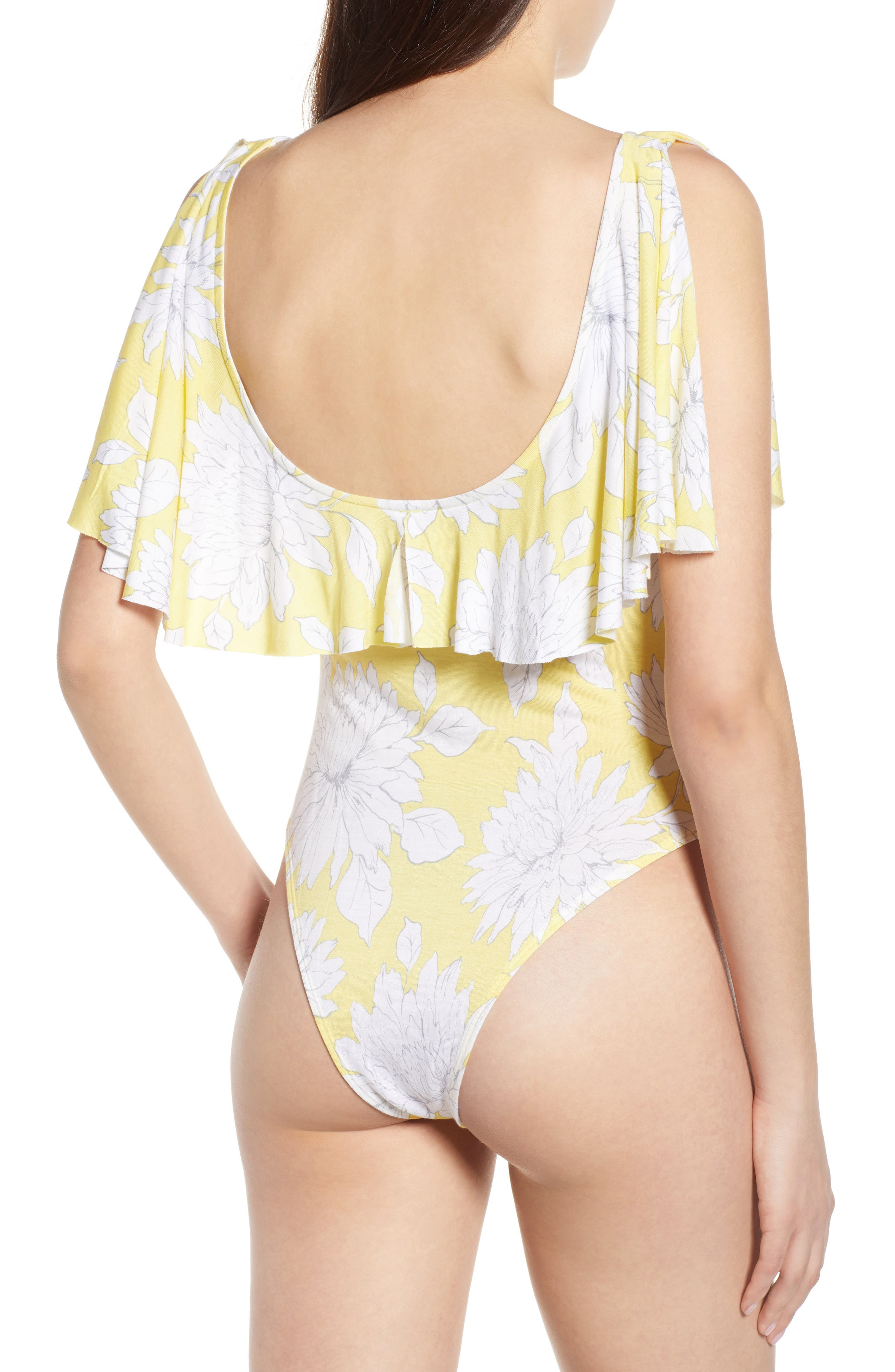 Print Ruffle Bodysuit,                             Alternate thumbnail 3, color,                             Yellow Glow Grunge Floral