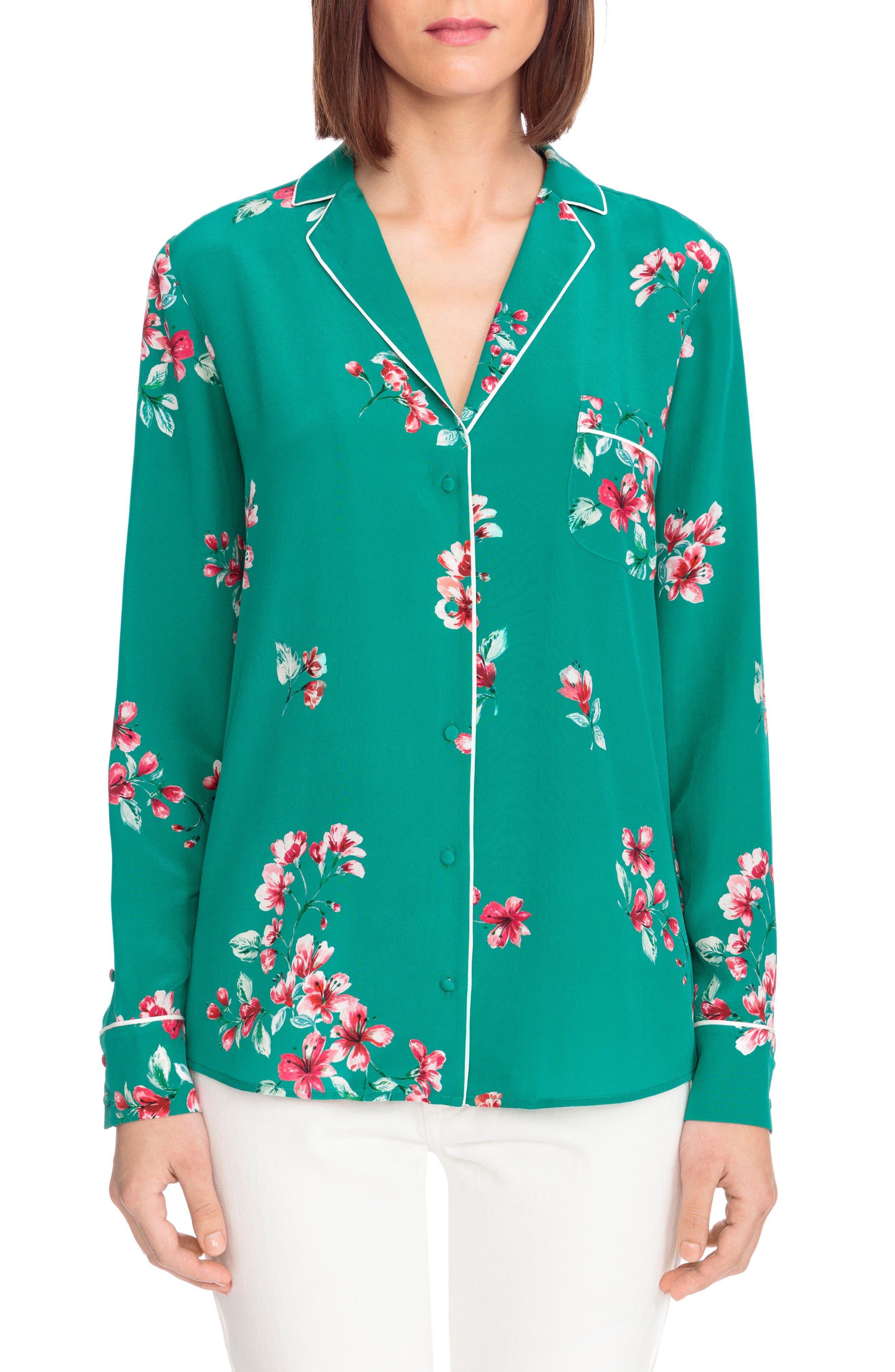 Elisa Floral Silk Pajama Shirt,                         Main,                         color, Bouquet Print On Green