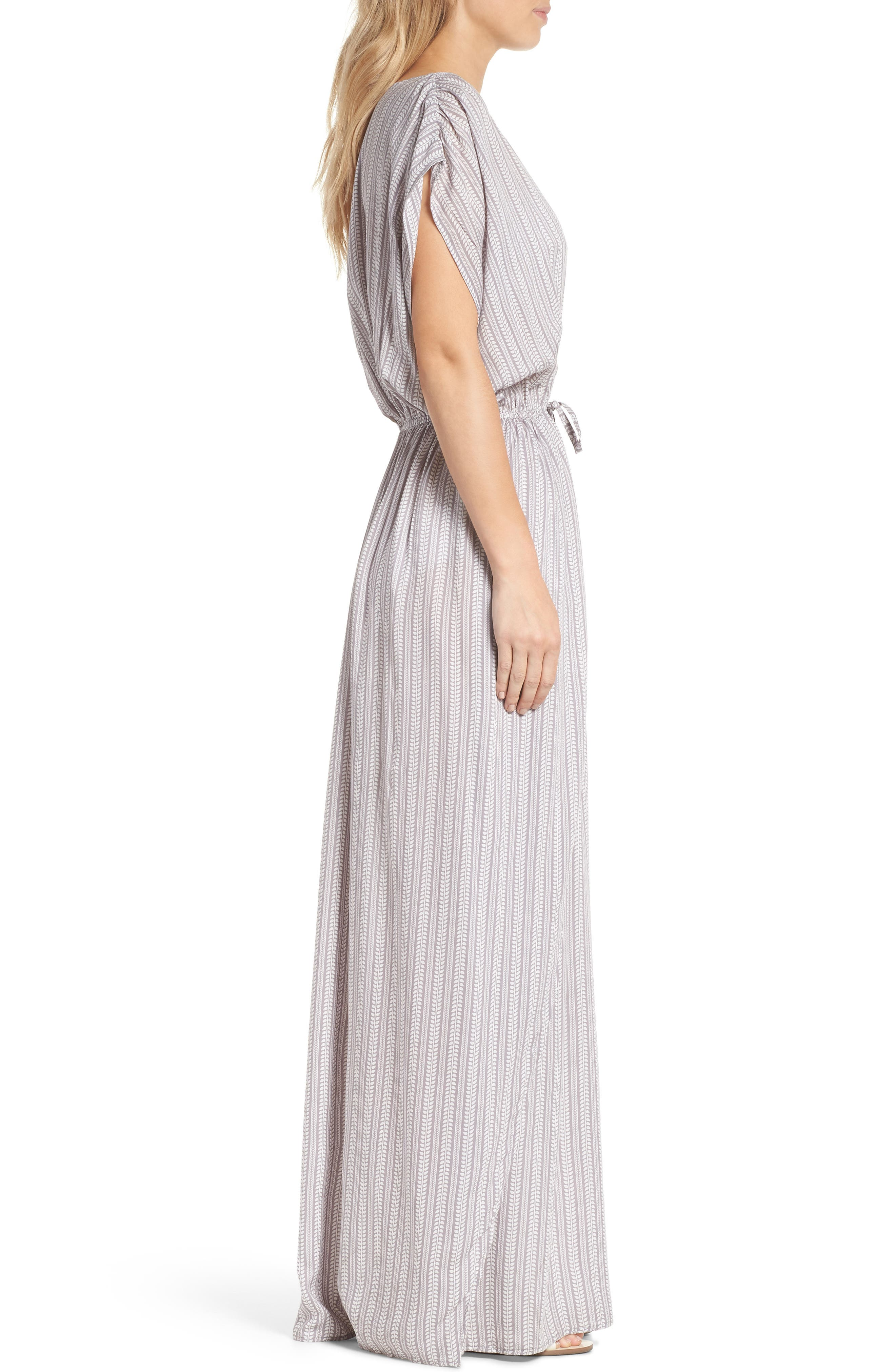 Wrap Maxi Cover-Up Dress,                             Alternate thumbnail 3, color,                             Makoto Grey