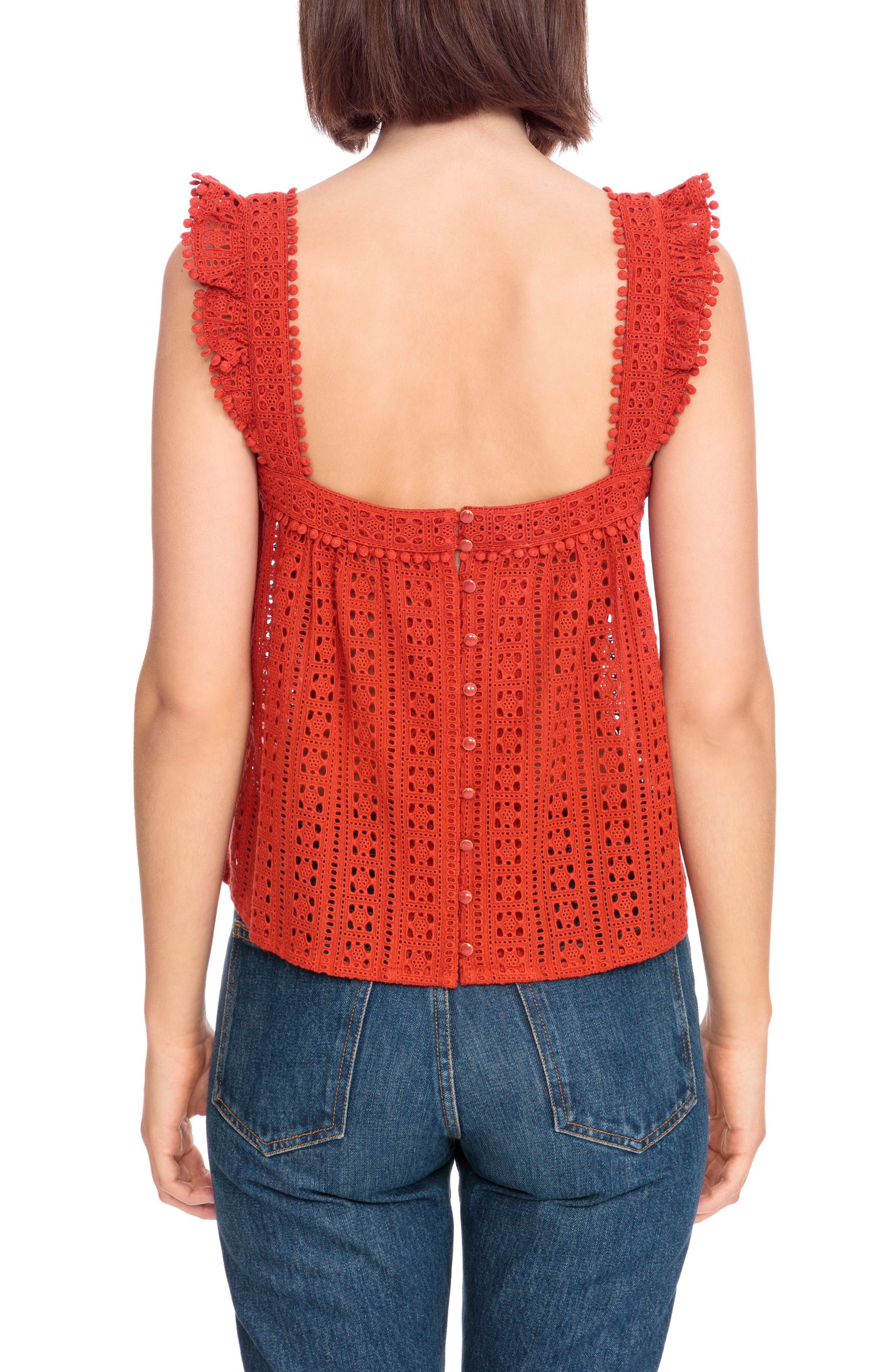Abby Eyelet Blouse,                             Alternate thumbnail 3, color,                             Brick Red