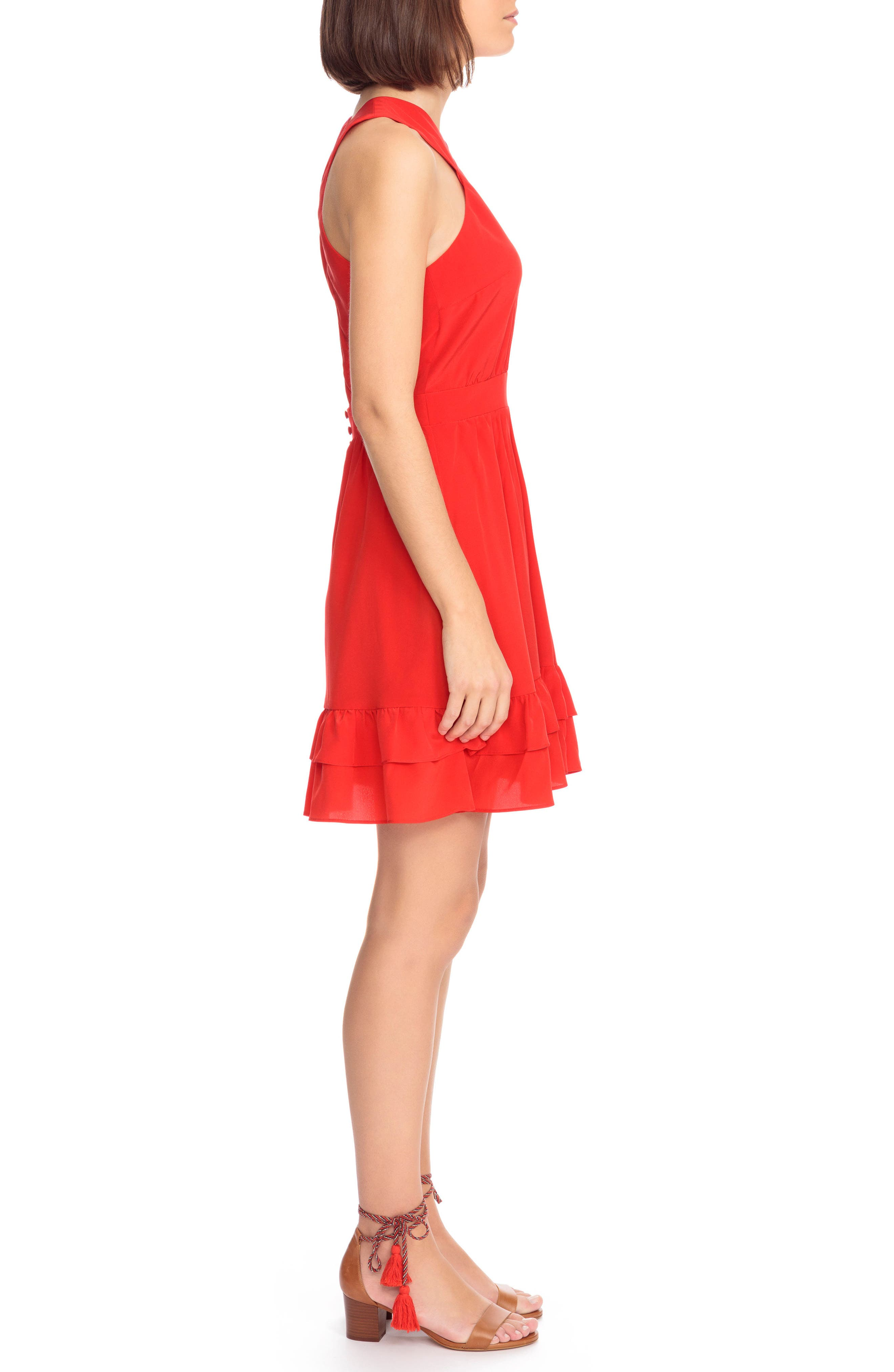 Alma Silk Fit & Flare Dress,                             Alternate thumbnail 4, color,                             Coral Red