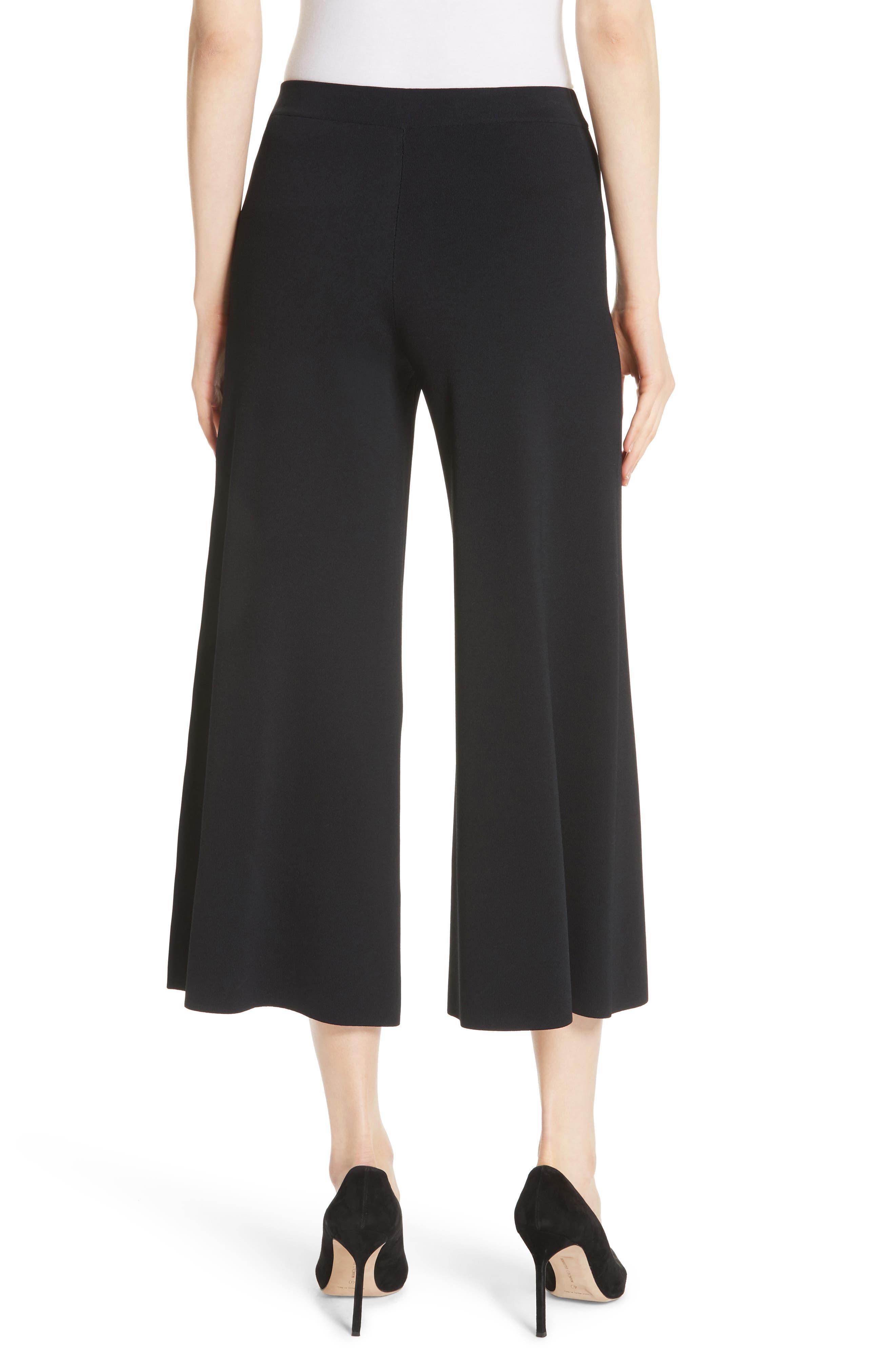 Henriet K Lustrate Wide Leg Crop Pants,                             Alternate thumbnail 2, color,                             Black