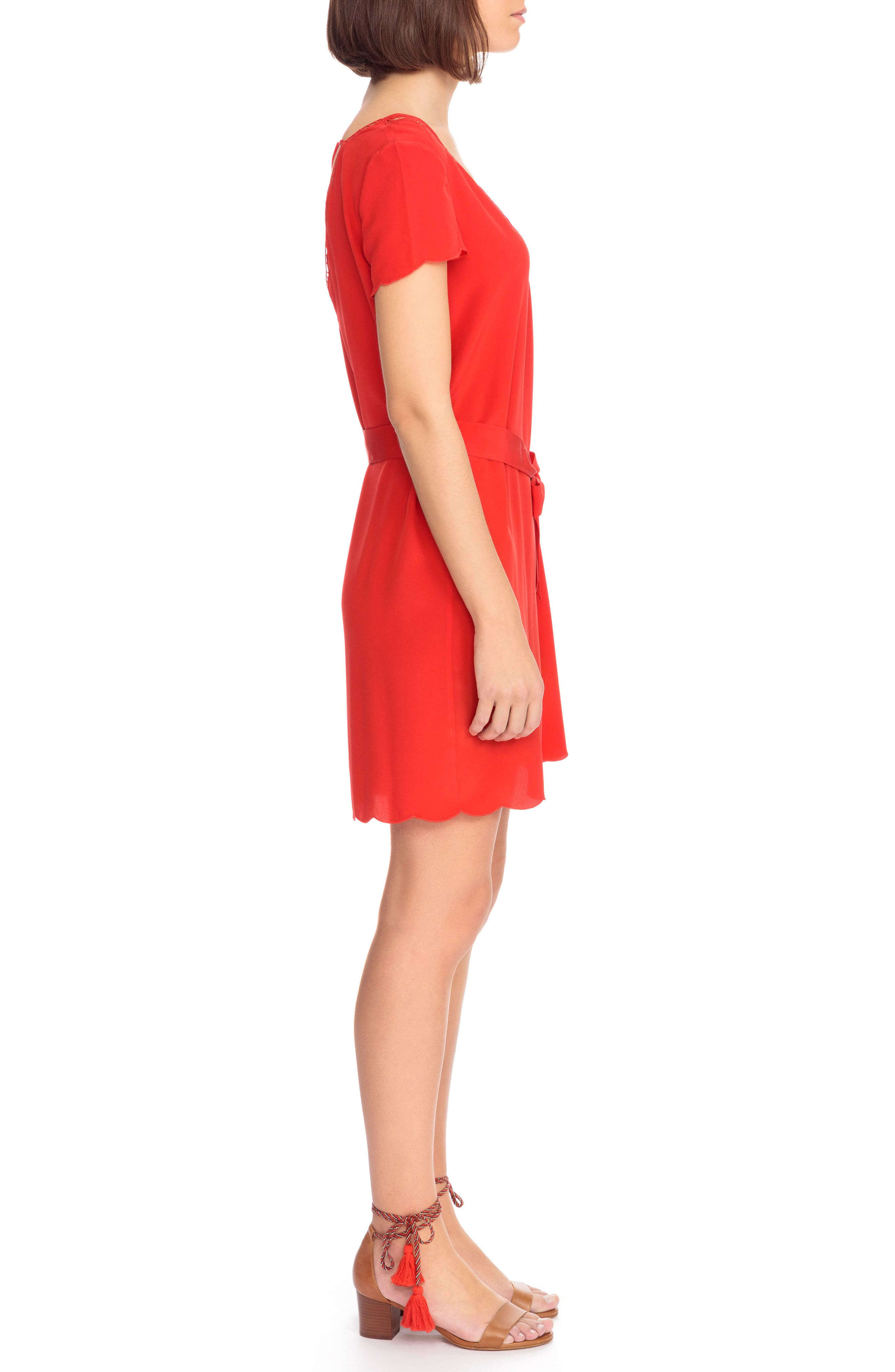 Anabella Belted Silk Dress,                             Alternate thumbnail 4, color,                             Coral Red