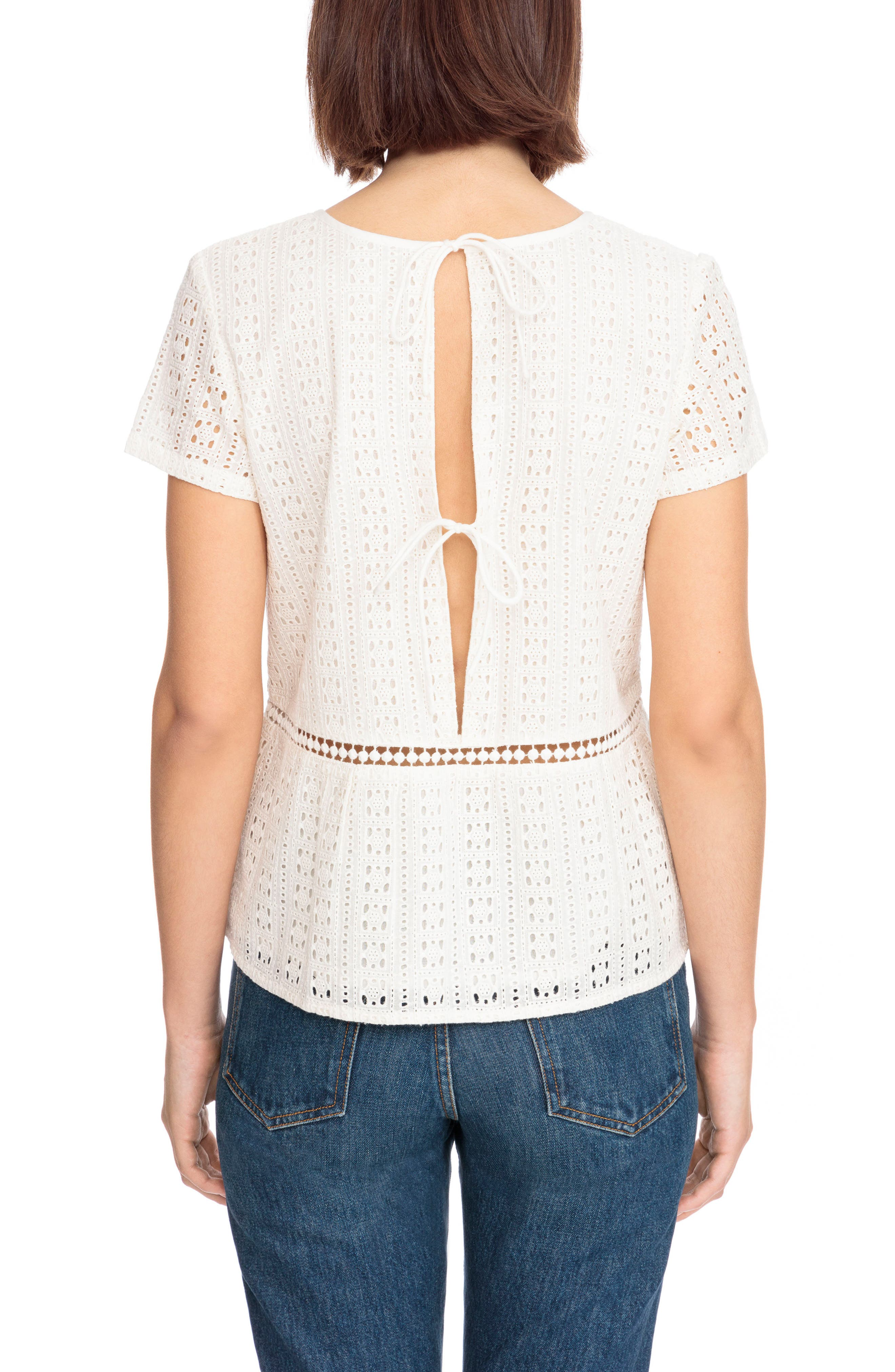 Clo Crochet Blouse,                             Alternate thumbnail 2, color,                             Off White