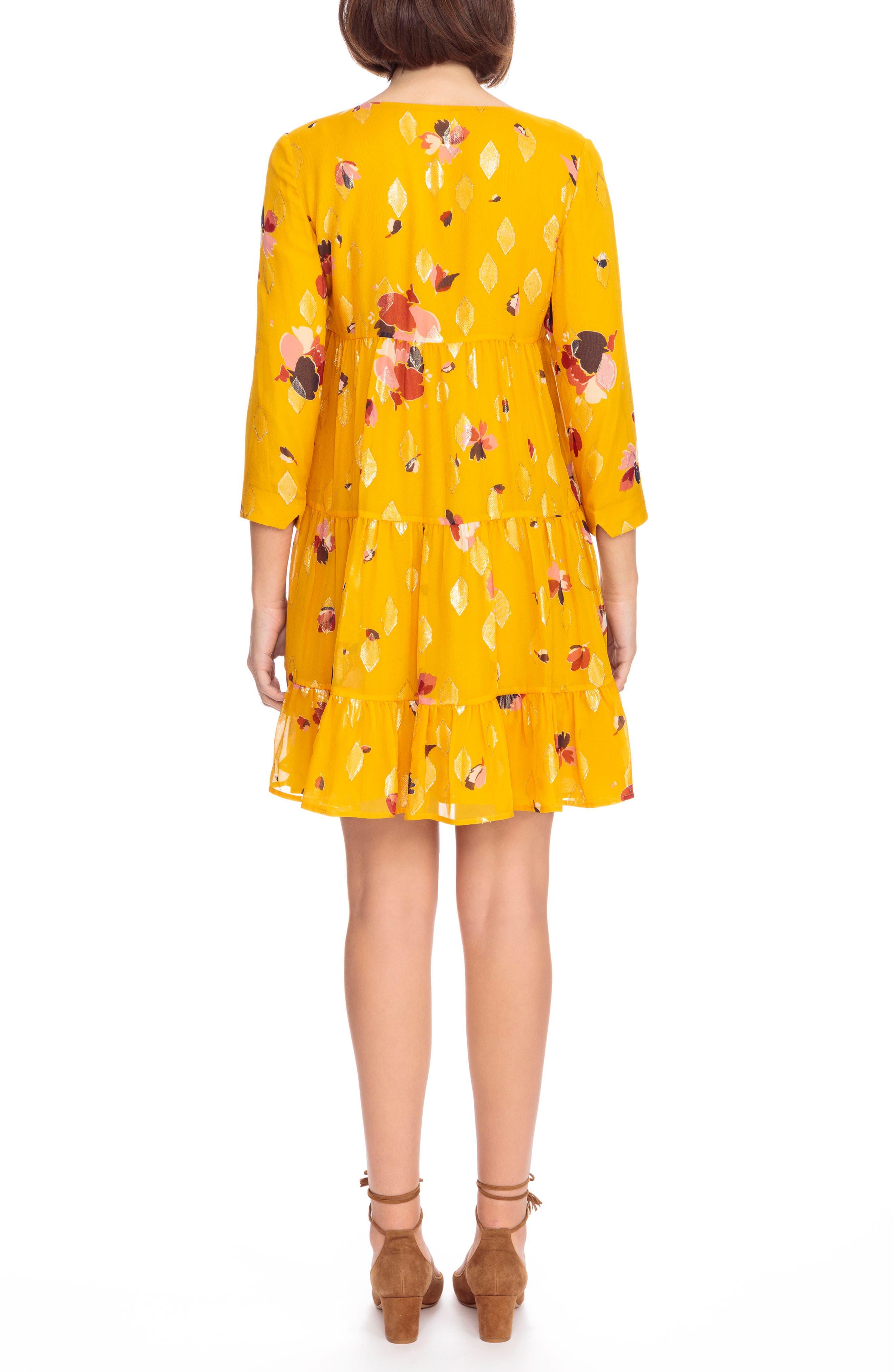 Aure Silk A-Line Dress,                             Alternate thumbnail 3, color,                             Big Flowers 60S On Saffron