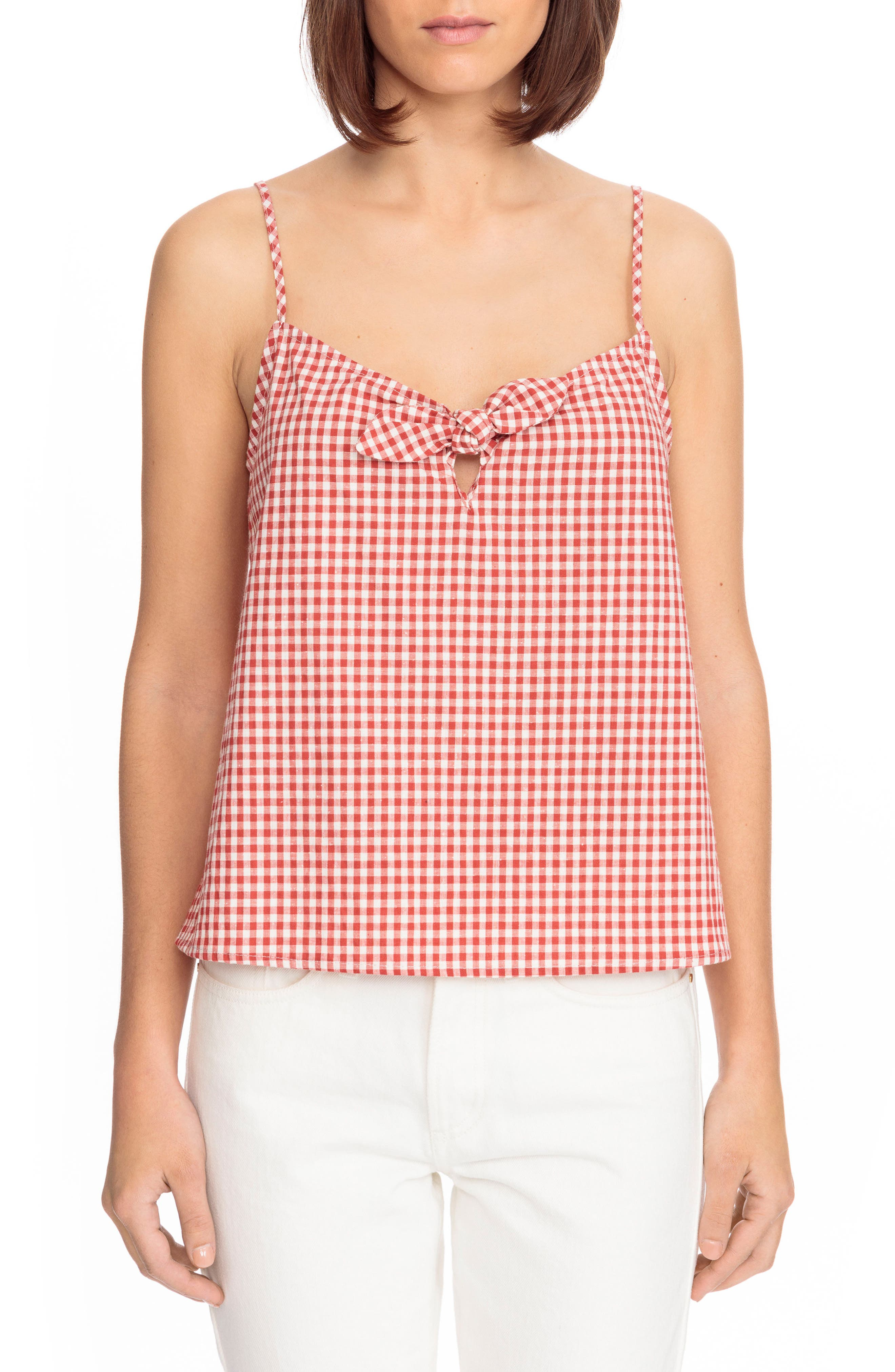 Suzie Gingham Top,                         Main,                         color, Red Vichy