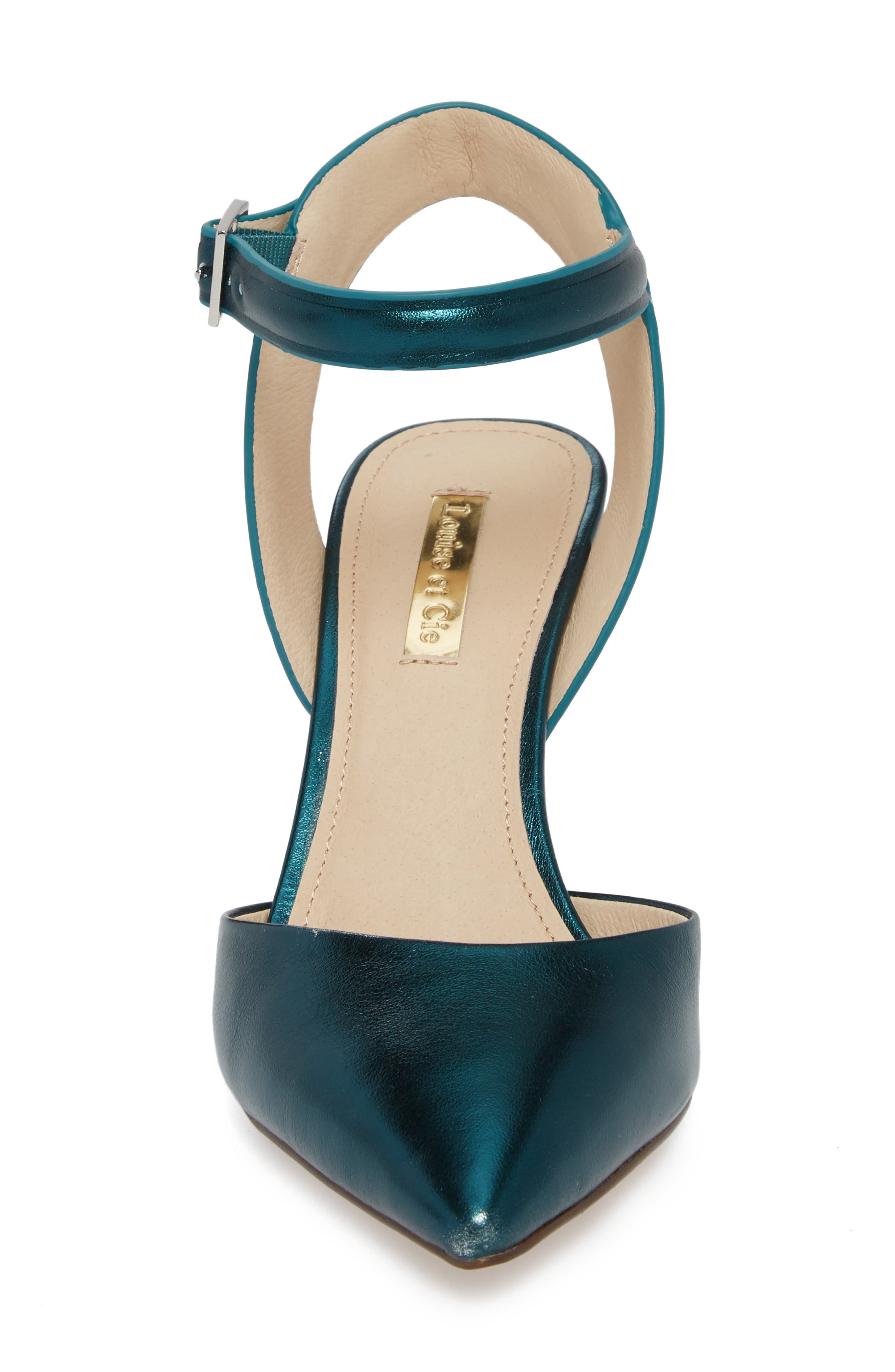 Kota Ankle Strap Pump,                             Alternate thumbnail 4, color,                             Teal Metallic Leather