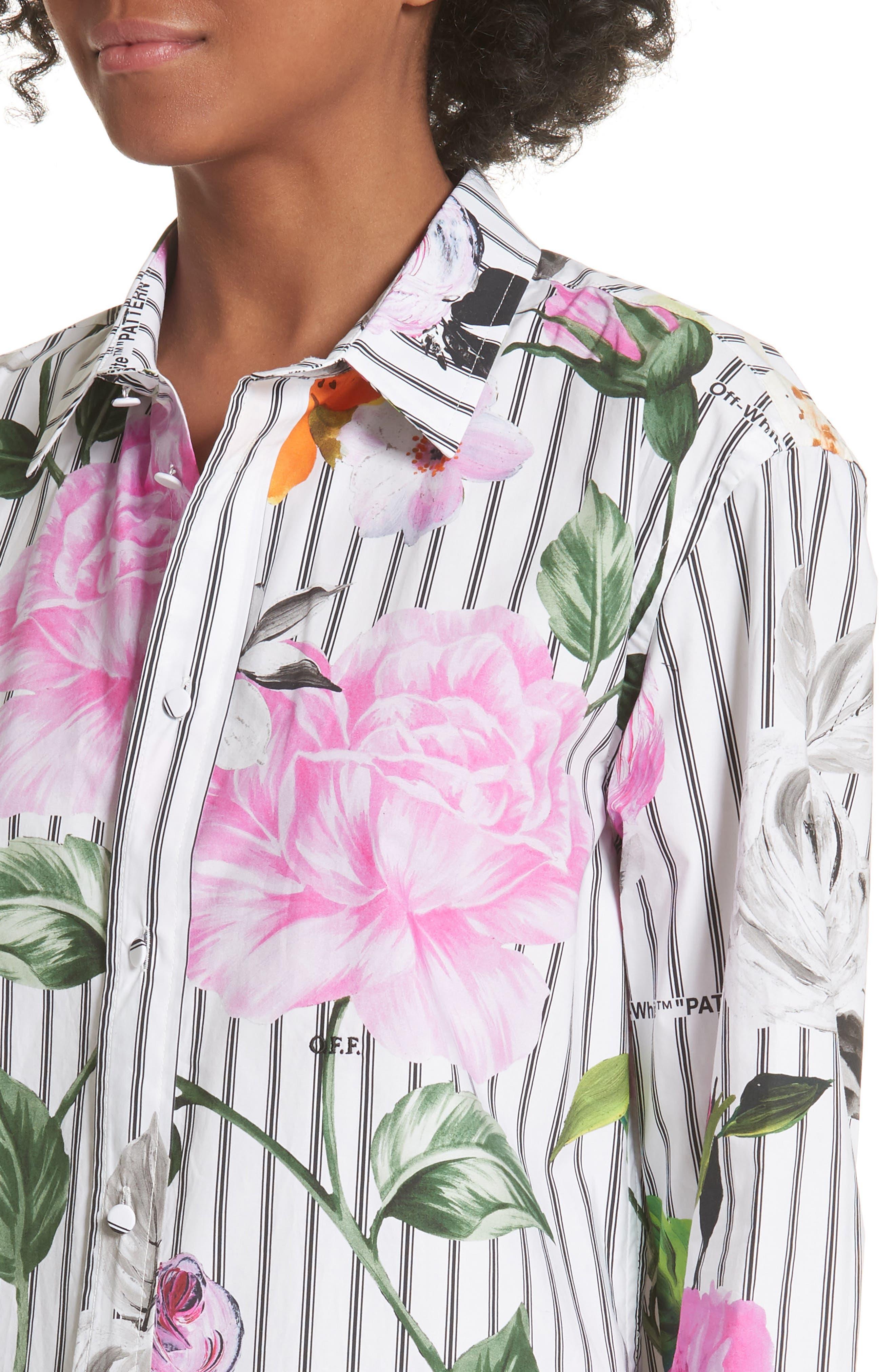 Basic Flower Stripe Shirt,                             Alternate thumbnail 4, color,                             All Over Black