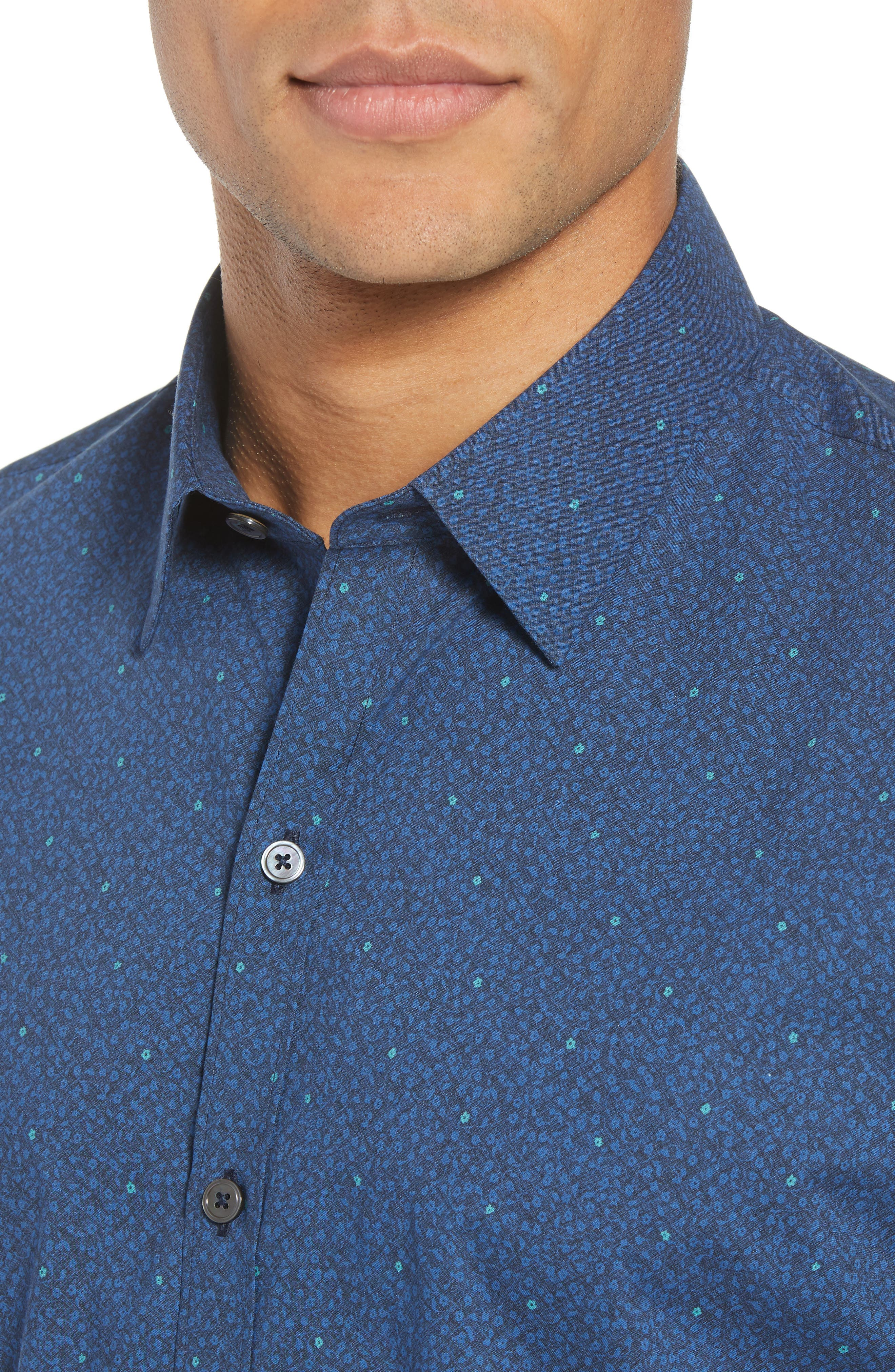 Wichert Trim Fit Floral Print Sport Shirt,                             Alternate thumbnail 2, color,                             Dark Blue