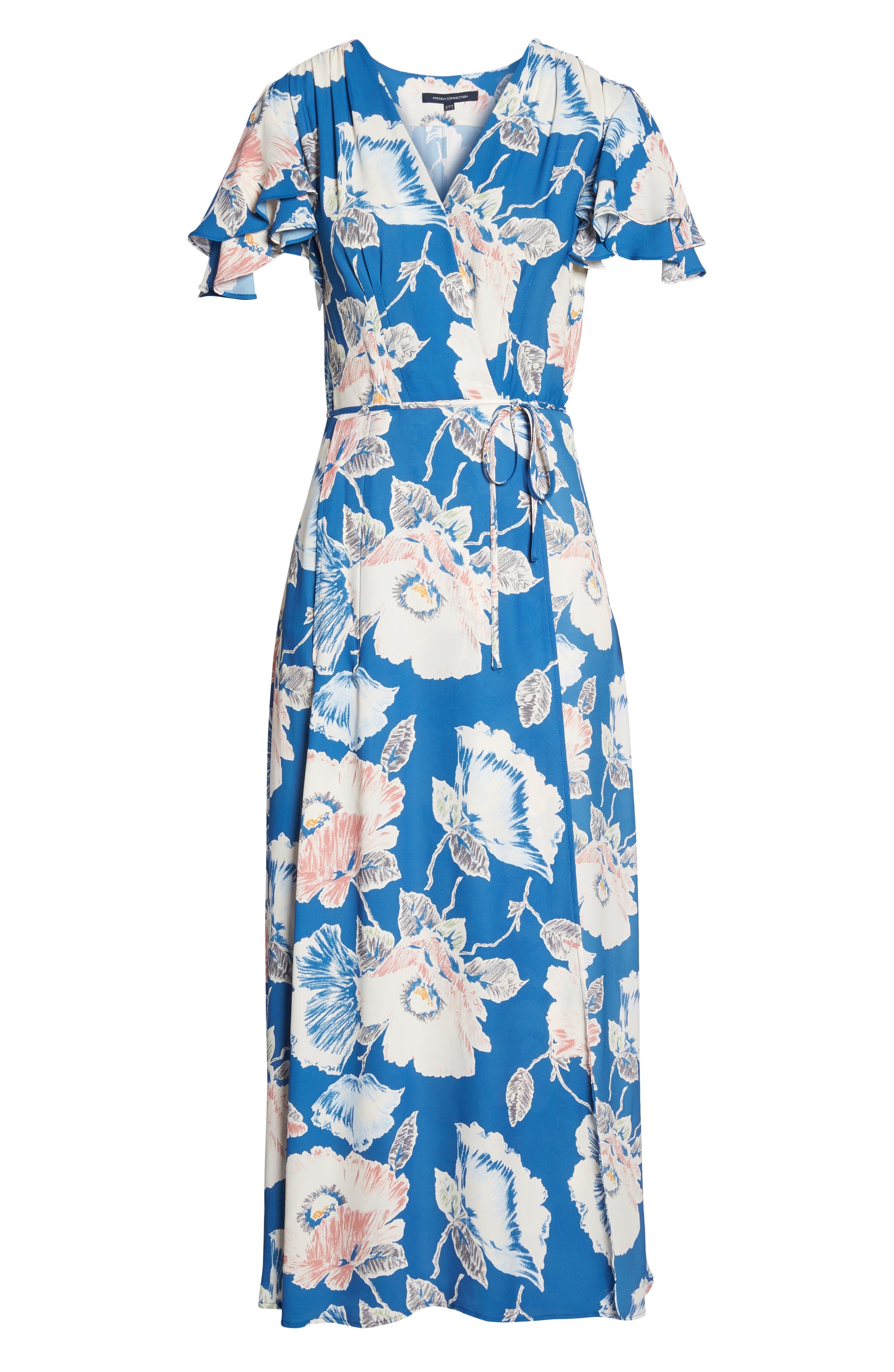 Cari Faux Wrap Crepe Dress,                             Alternate thumbnail 7, color,                             Vintage Blue