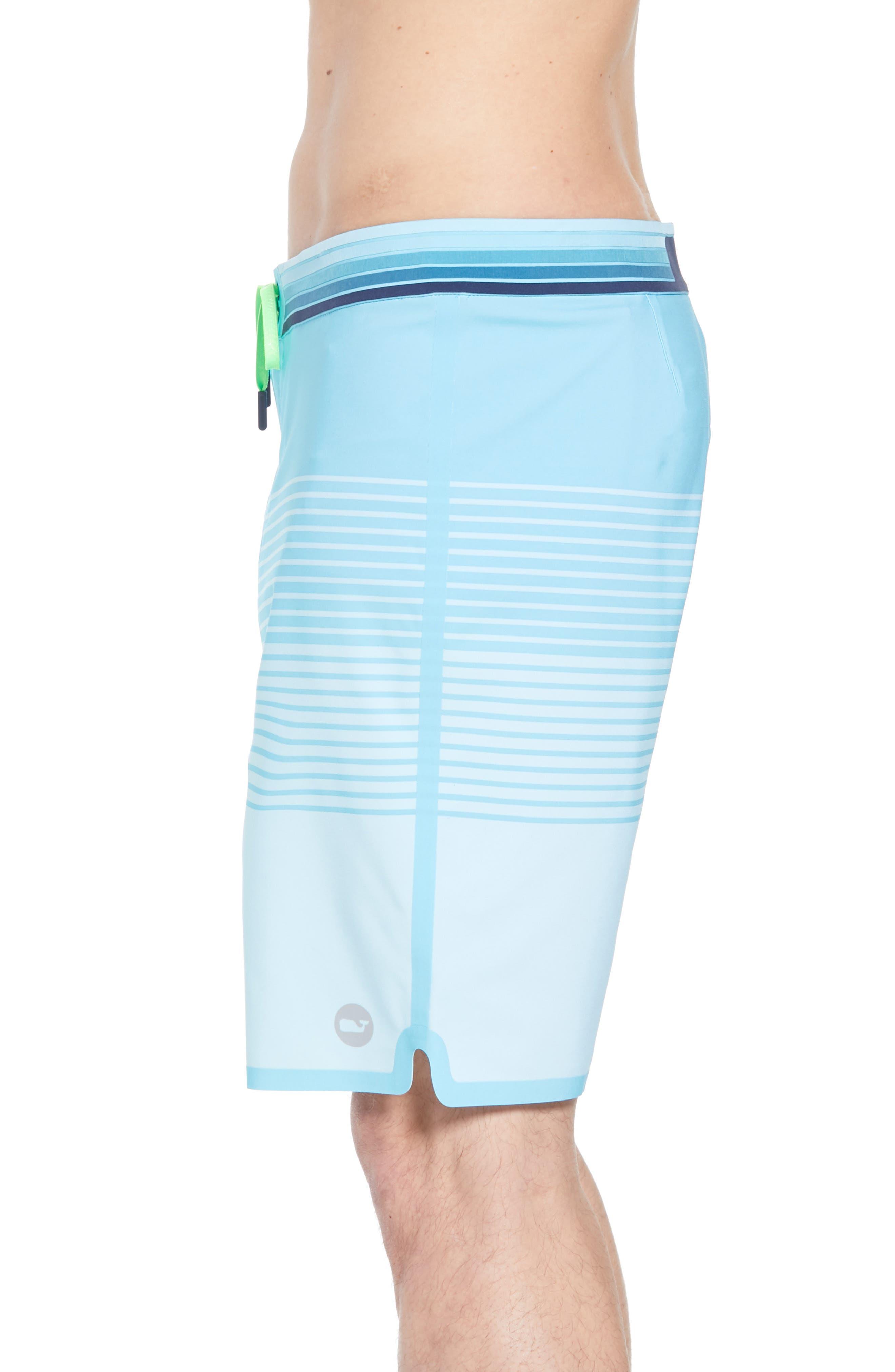 Sculplin Stripe Tech Board Shorts,                             Alternate thumbnail 3, color,                             Turquoise