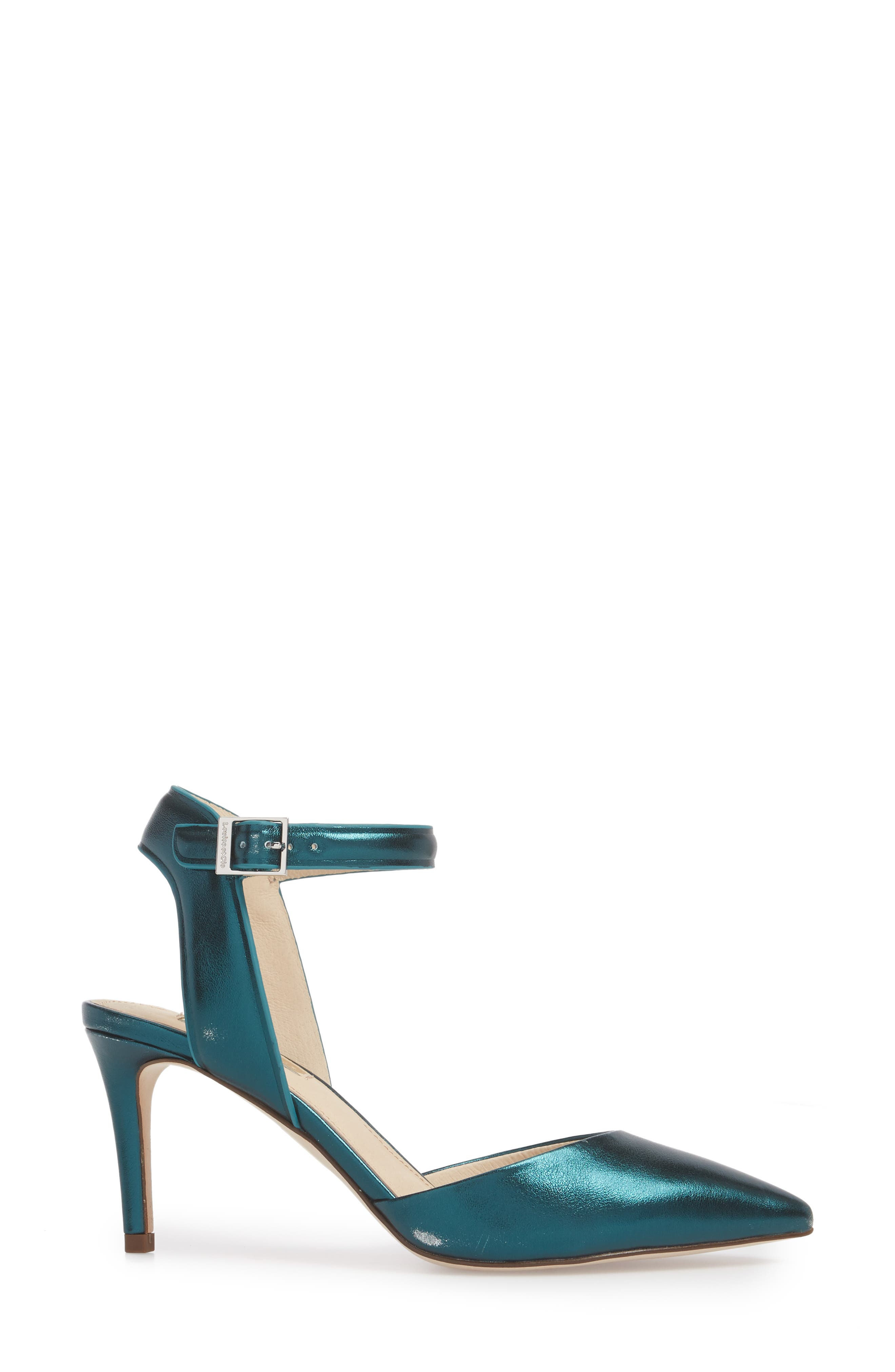 Kota Ankle Strap Pump,                             Alternate thumbnail 6, color,                             Teal Metallic Leather