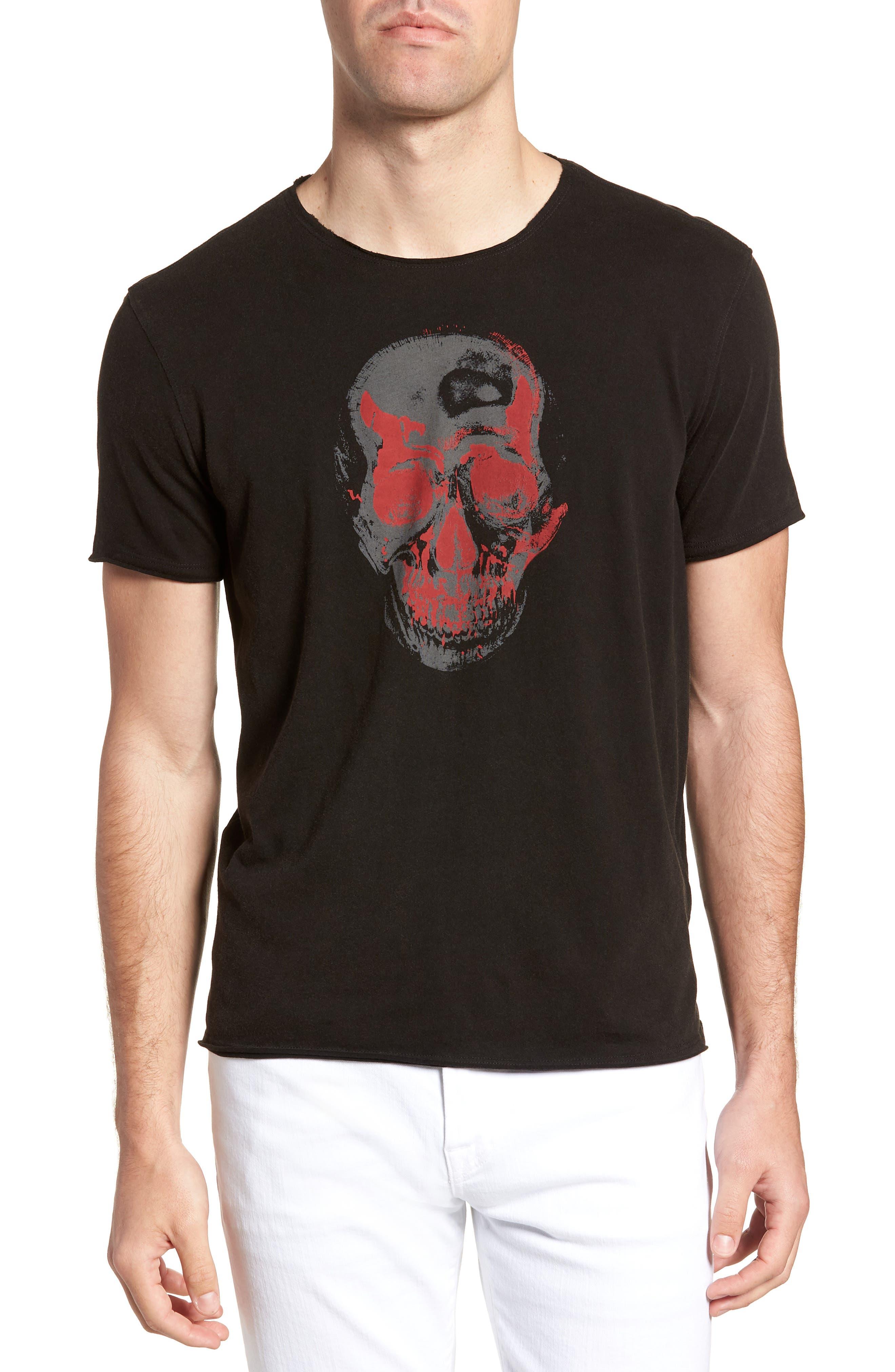Skull Crewneck T-Shirt,                             Main thumbnail 1, color,                             Black