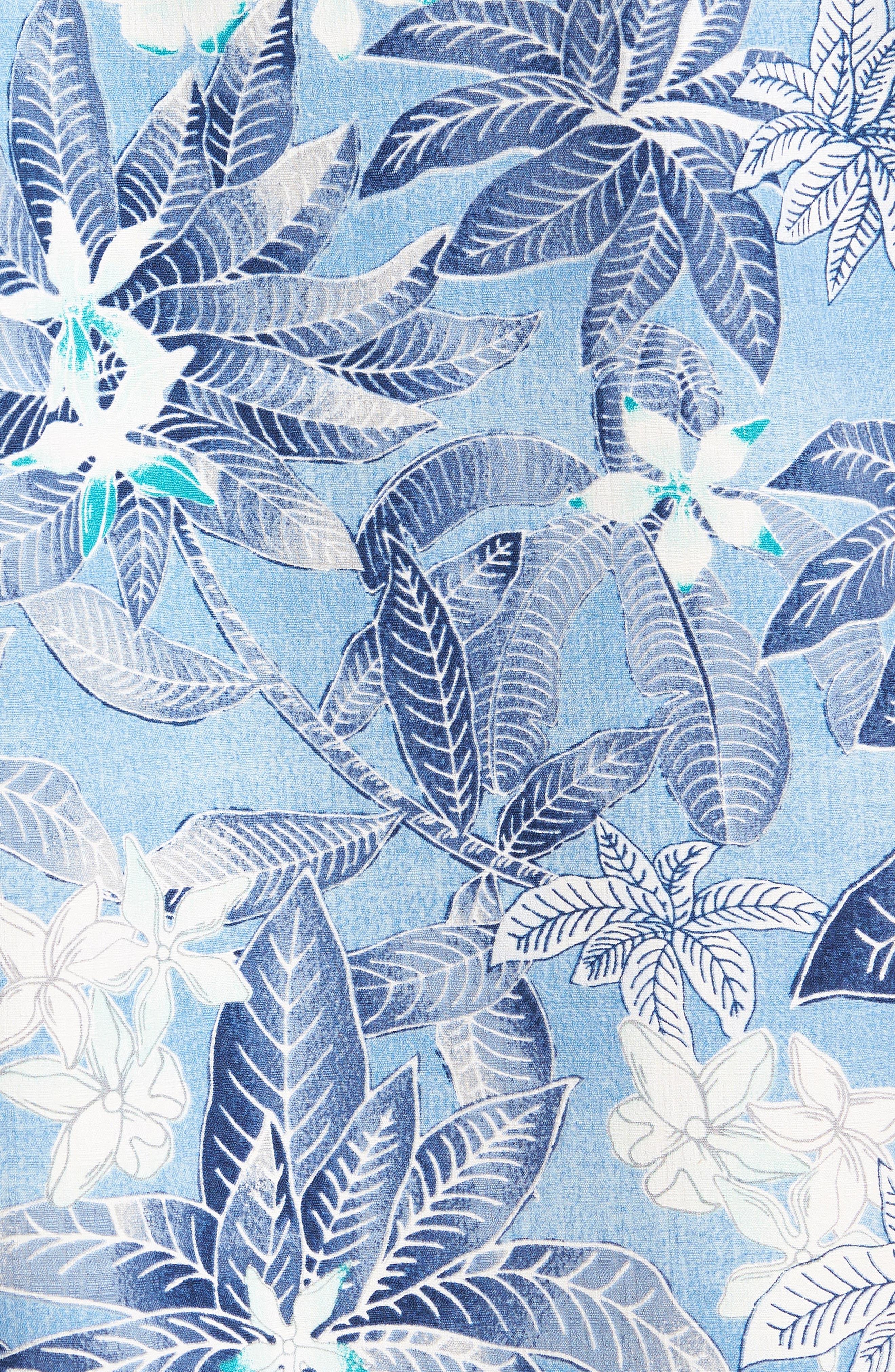 El Medano Jungle Silk Camp Shirt,                             Alternate thumbnail 5, color,                             Blue Aster