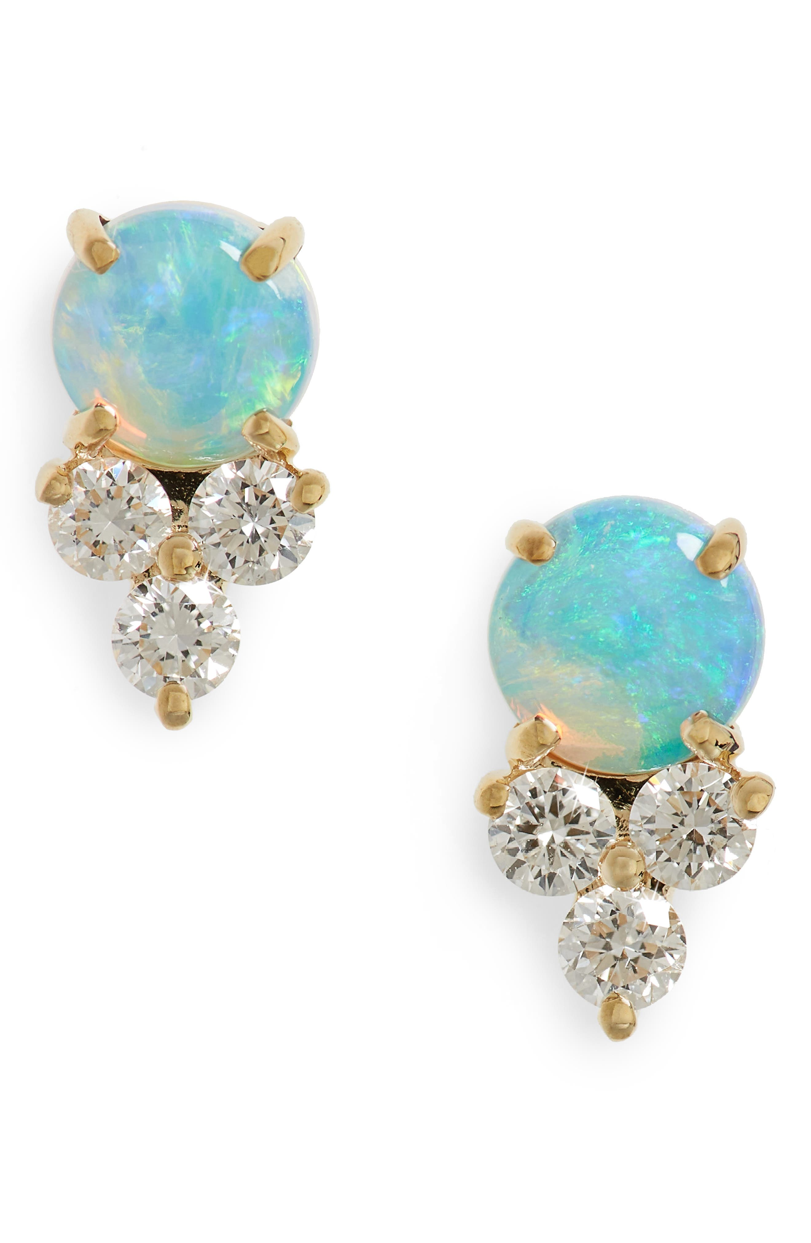 Diamond Trio Stone Stud Earrings,                             Main thumbnail 1, color,                             Yellow Gold/ Opal