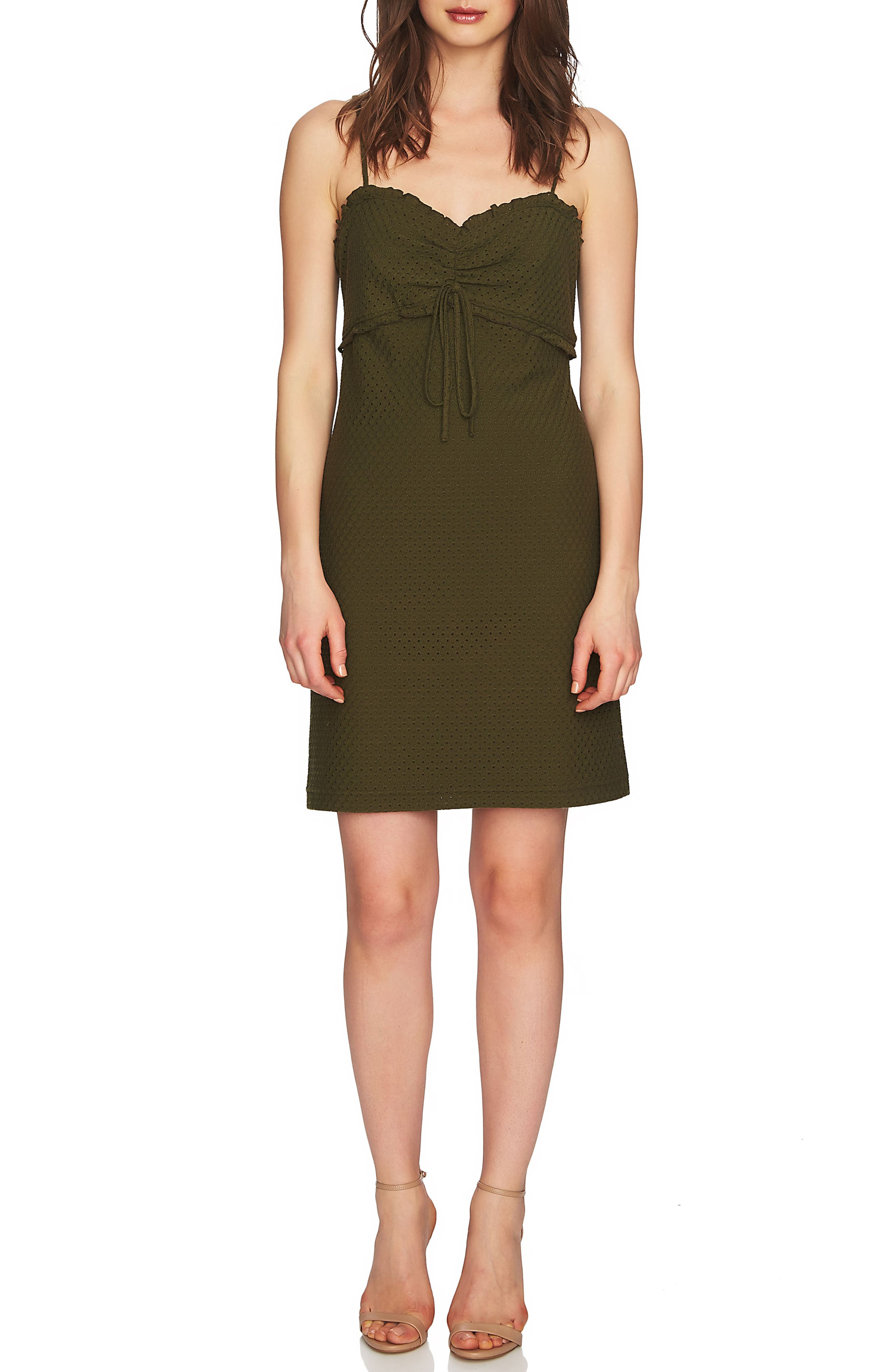Dani Ruched Eyelet Knit Dress,                             Main thumbnail 1, color,                             Palm Frond