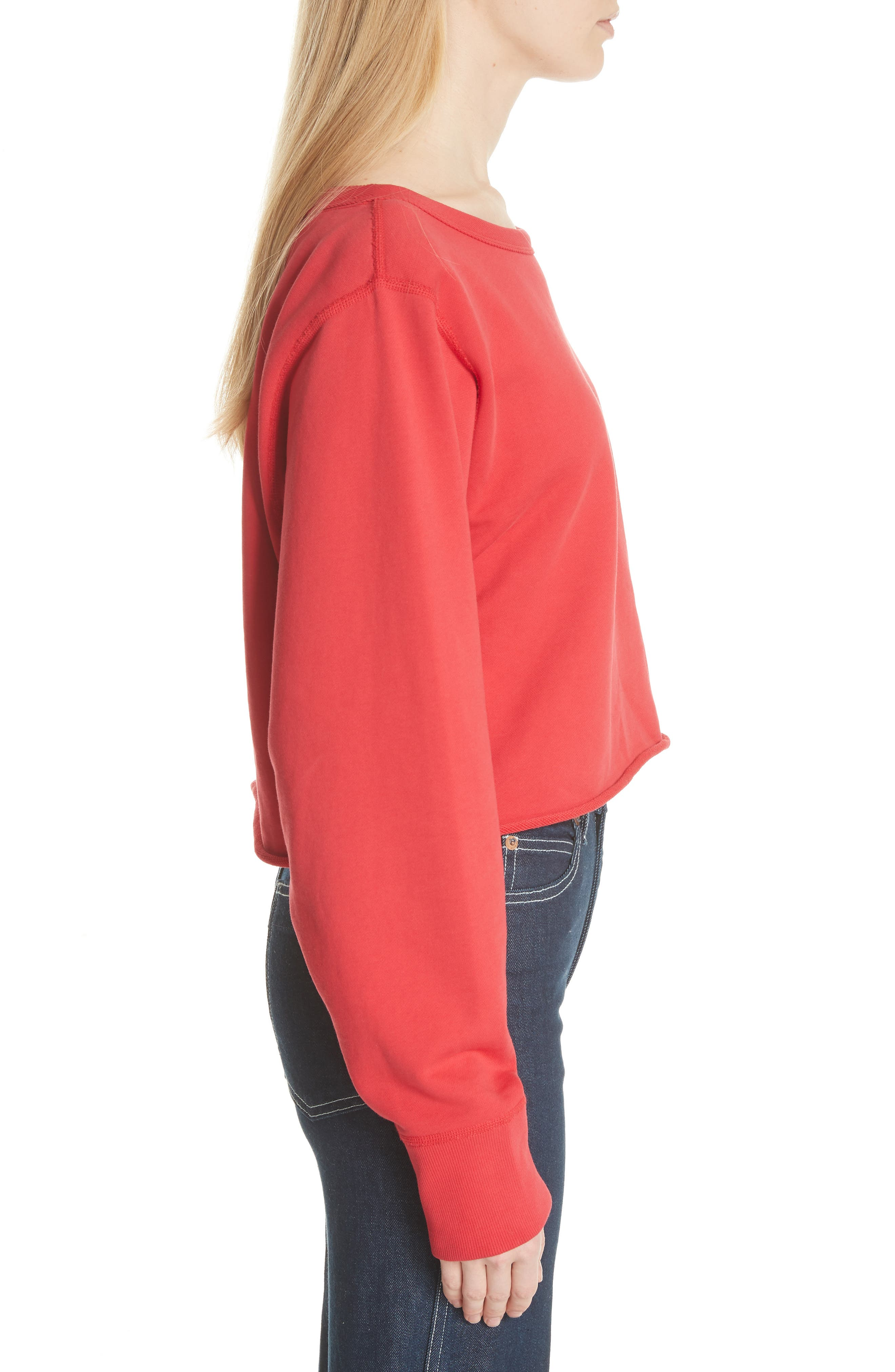 Crop Pullover,                             Alternate thumbnail 3, color,                             True Red