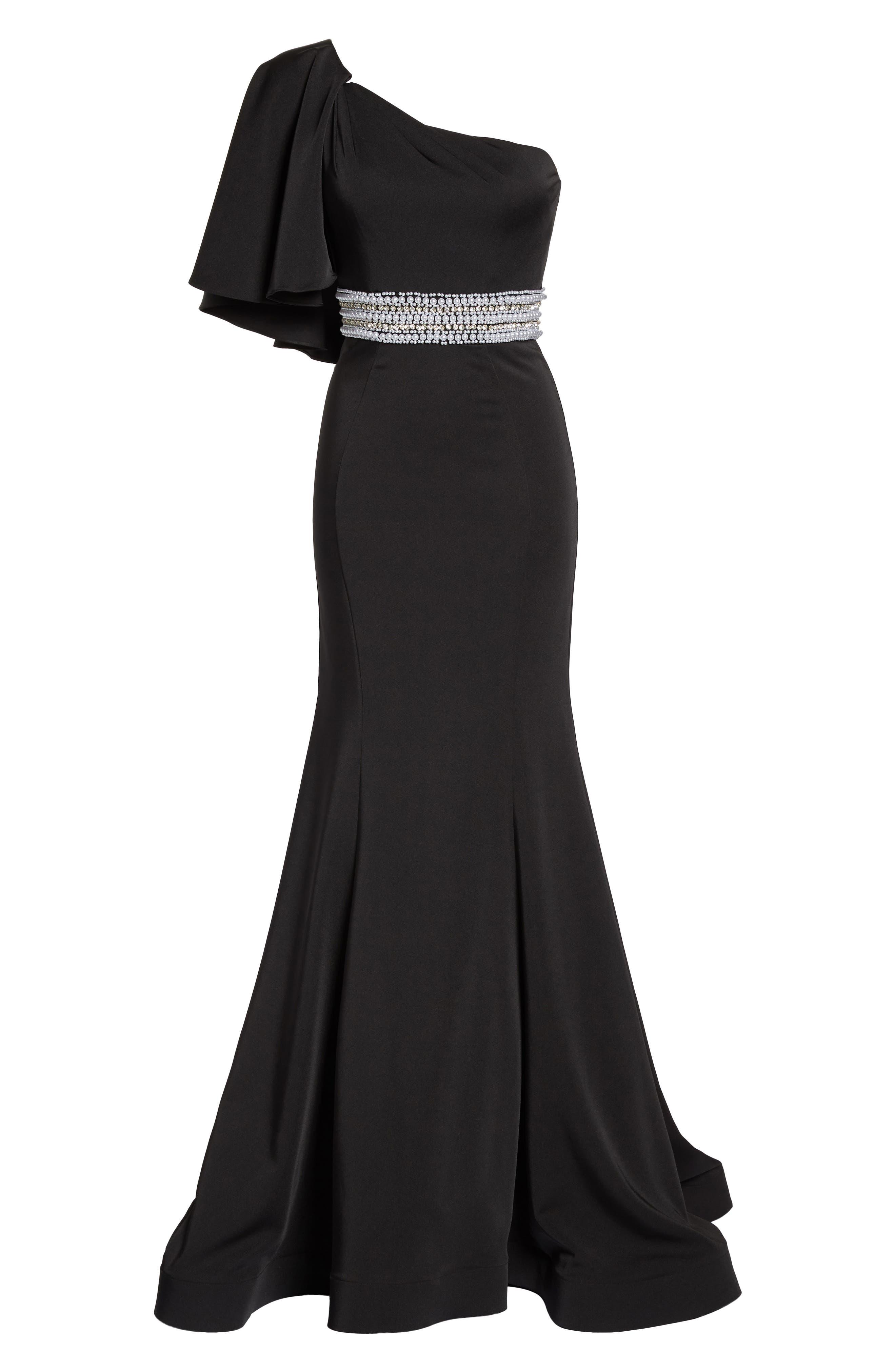 One-Shoulder Gown,                             Alternate thumbnail 6, color,                             Black