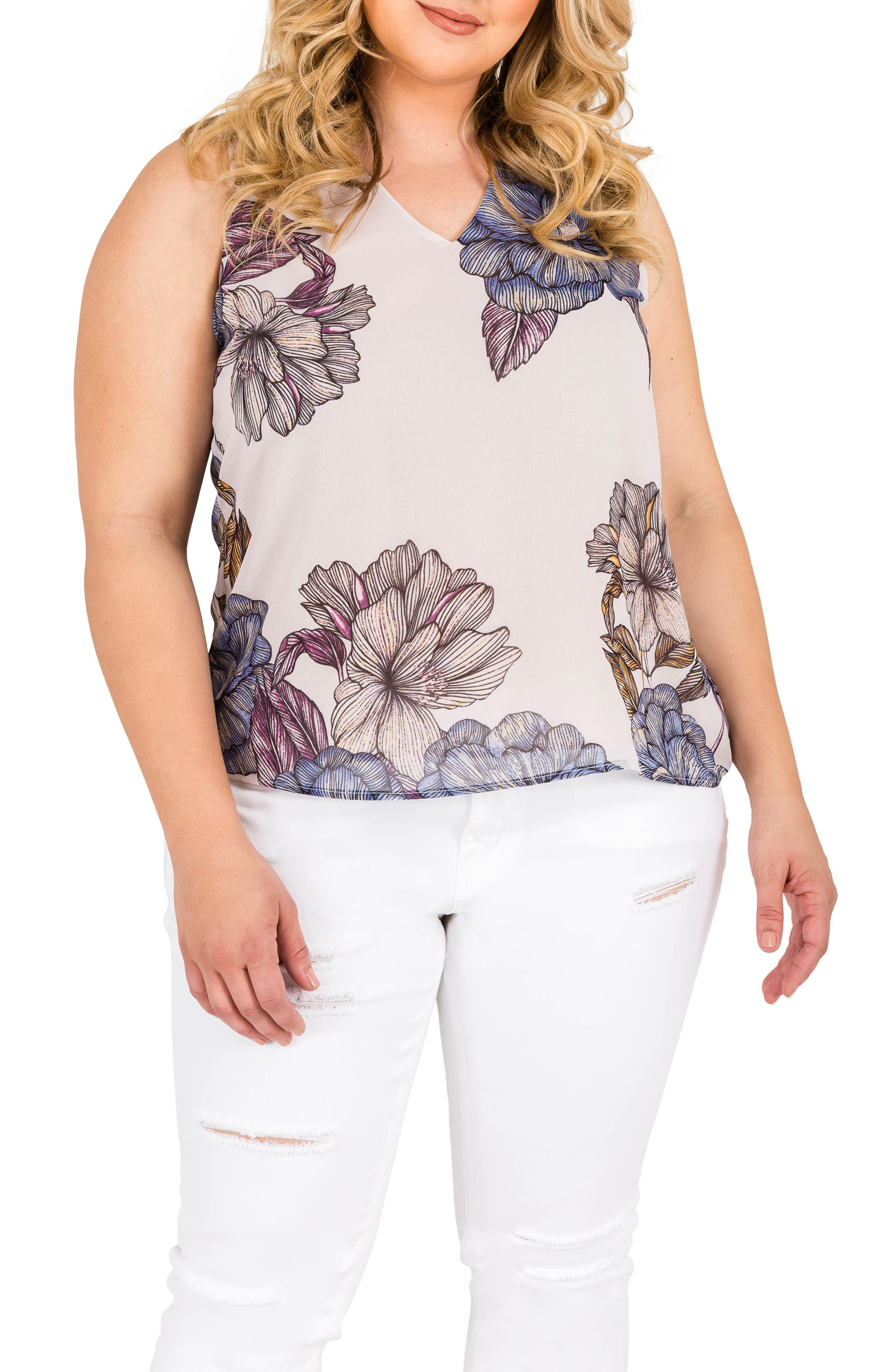 Sasha Floral Top,                         Main,                         color, Light Gray Floral Print