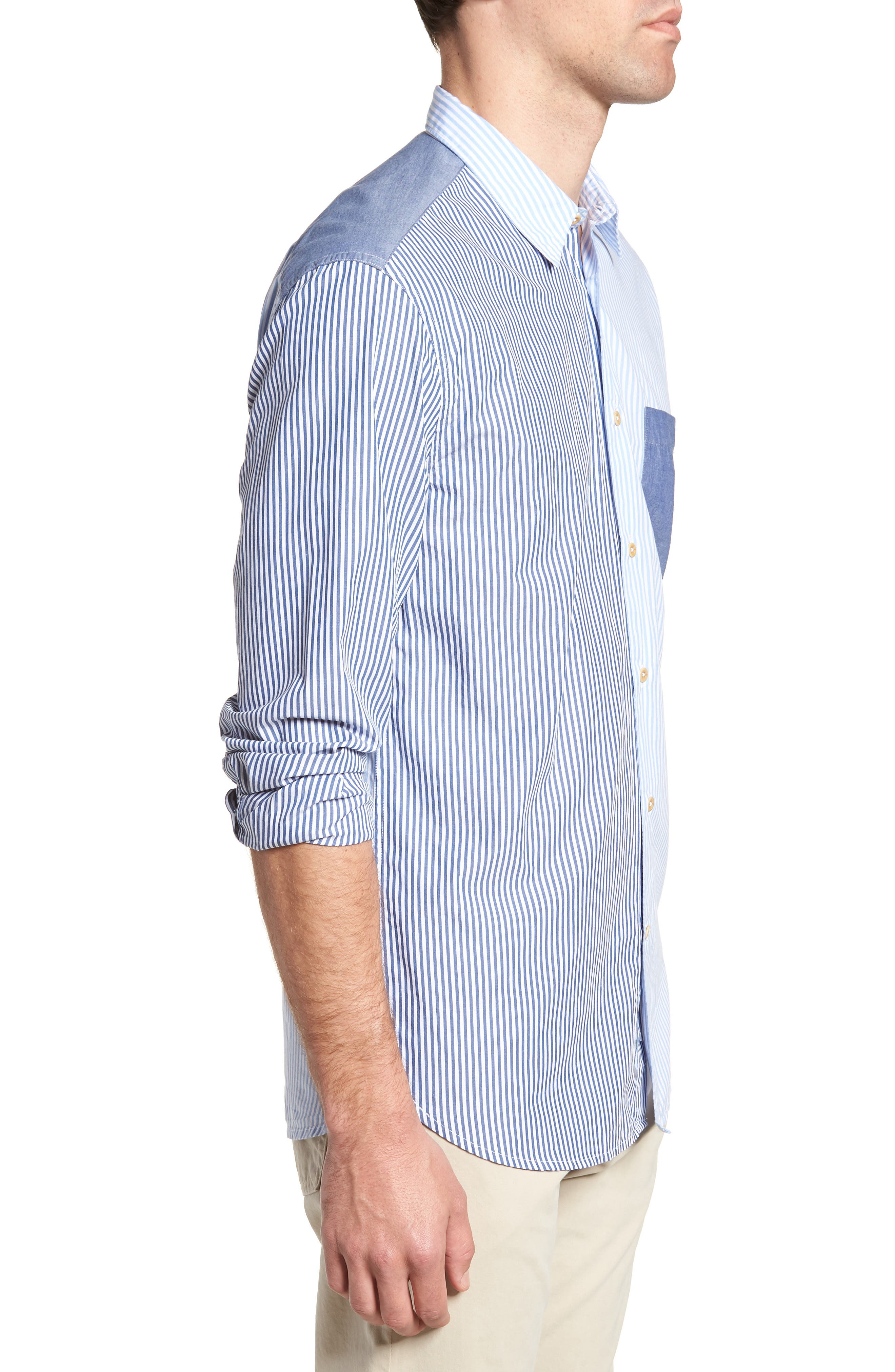 Patchwork Relaxed Fit Sport Shirt,                             Alternate thumbnail 3, color,                             Blue Blood